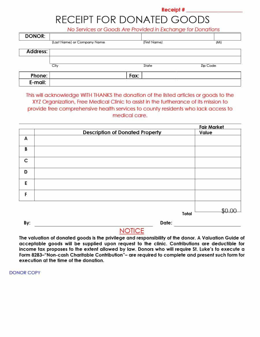 Non Profit Donation Receipt Letter Template - Goods Receipt form Template