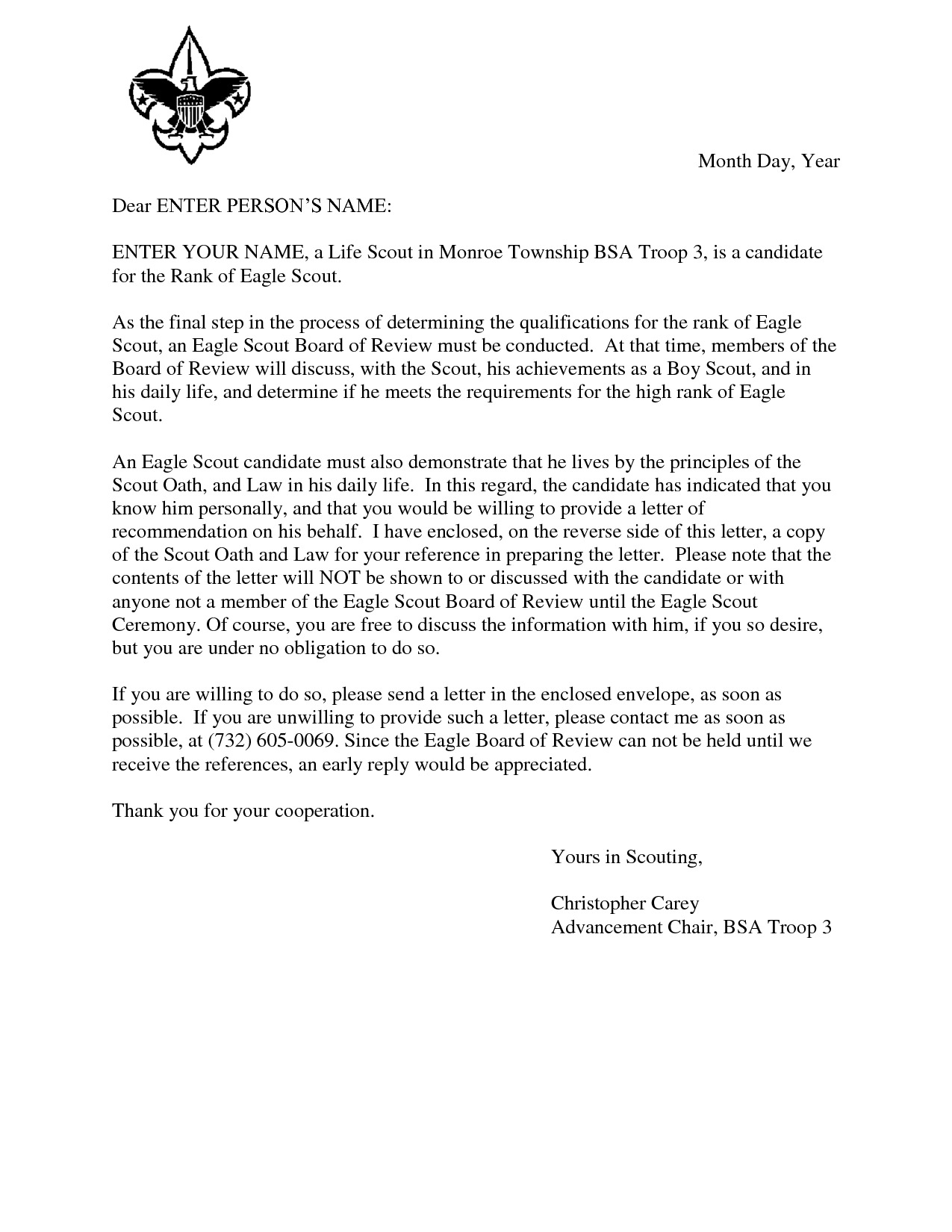 Prayer Letter Template Download - Happy Birthday Letter Template Luxury Eagle Scout Reference Request
