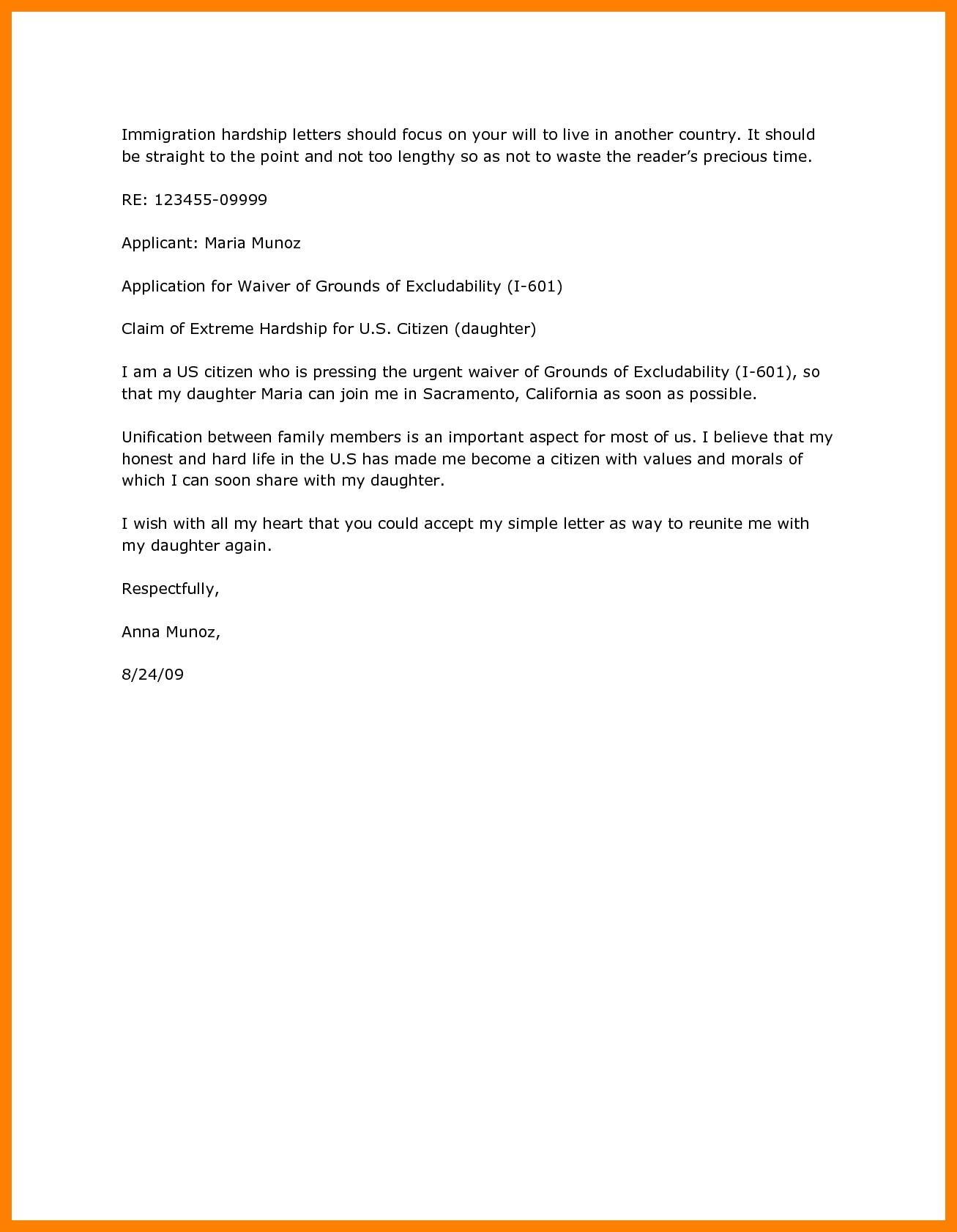 Immigration Hardship Letter Template - Hardship Immigration Letter