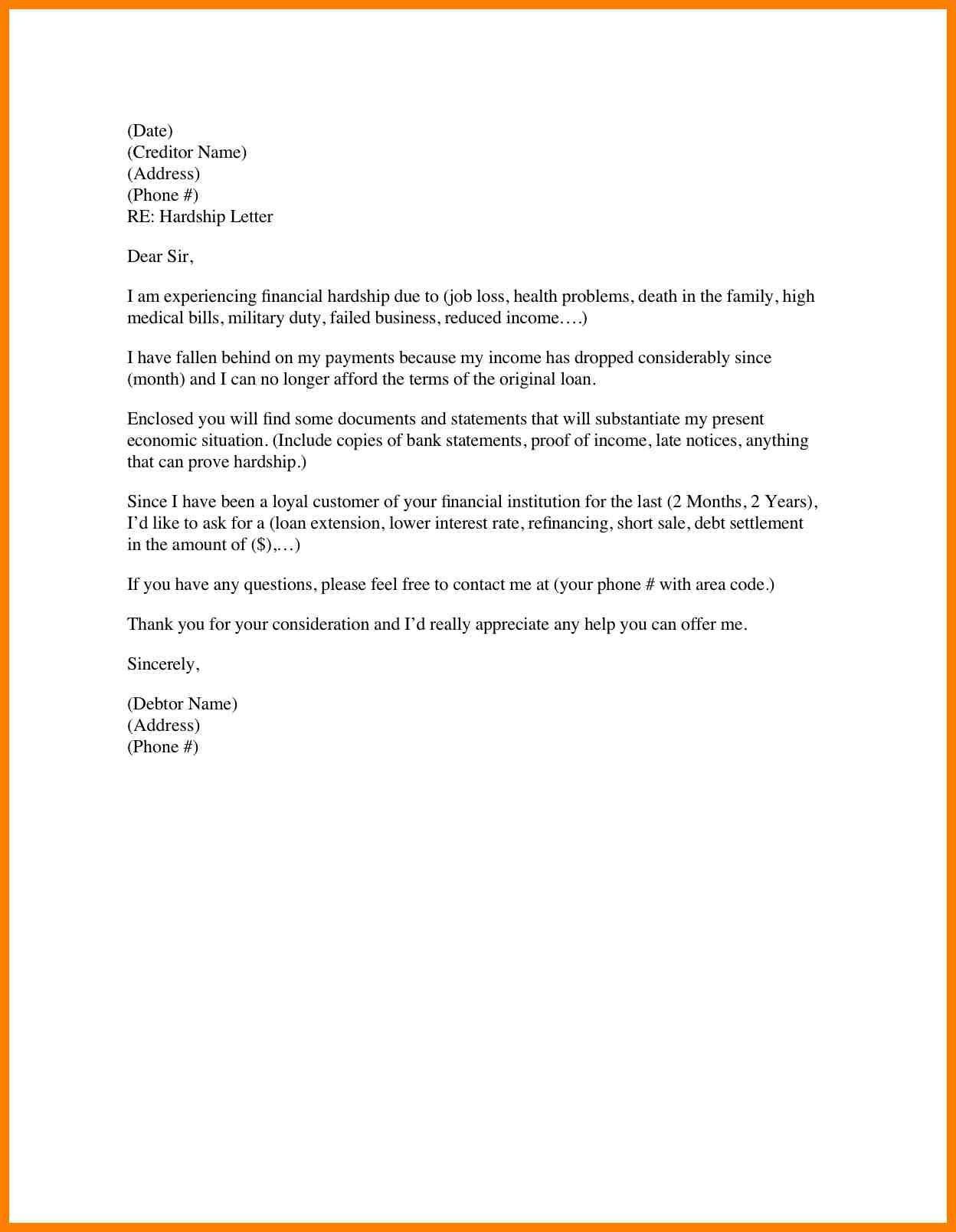 Financial Hardship Letter Template - Hardship Letter for Job Transfer Fresh Financial Hardship Letter for