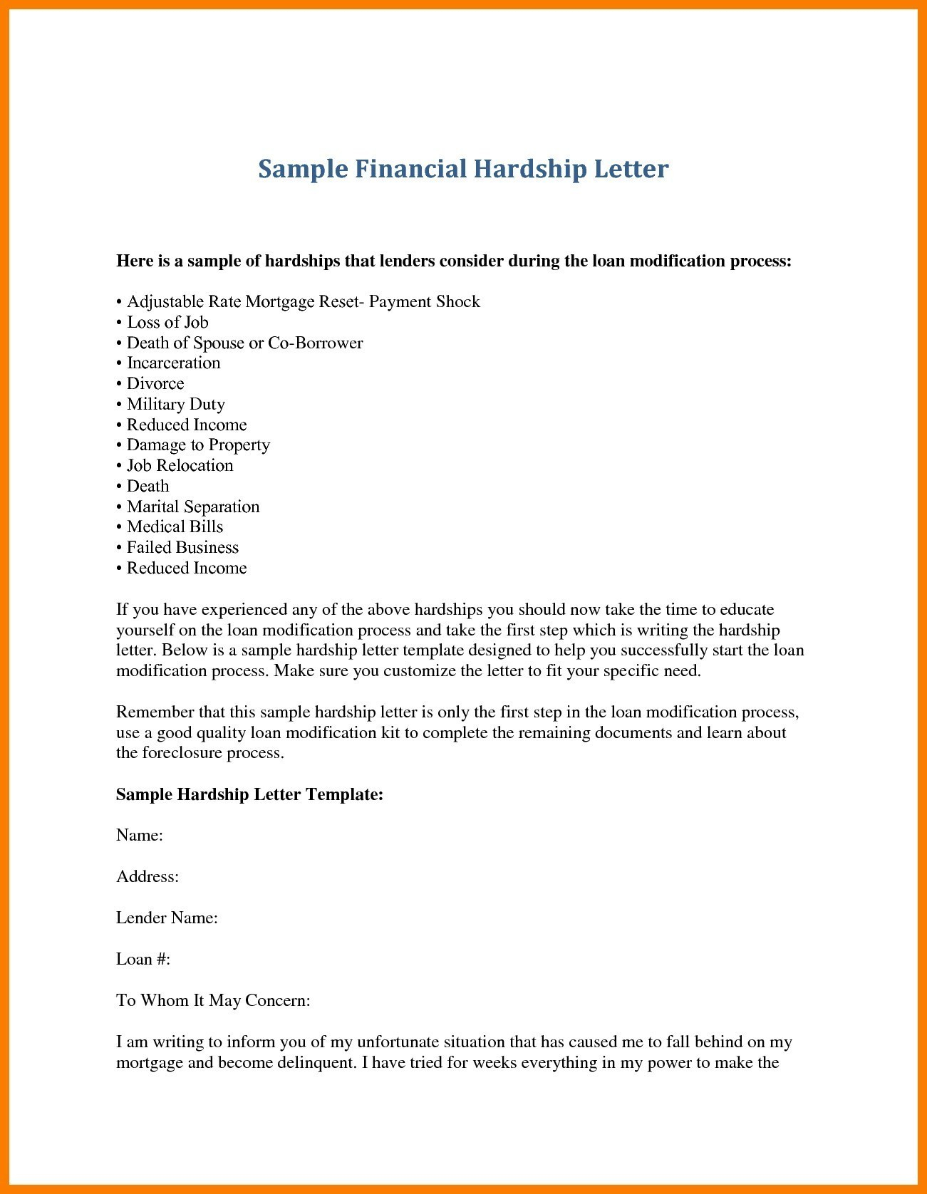Financial Hardship Letter Template Examples Letter Template Collection