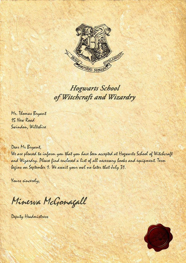 Harry Potter Letter Template - Hogwarts Acceptance Letter by Legiondesign