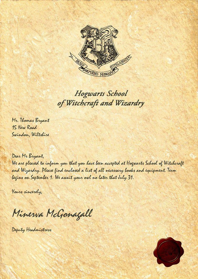 Hogwarts Acceptance Letter Template - Hogwarts Acceptance Letter by Legiondesign