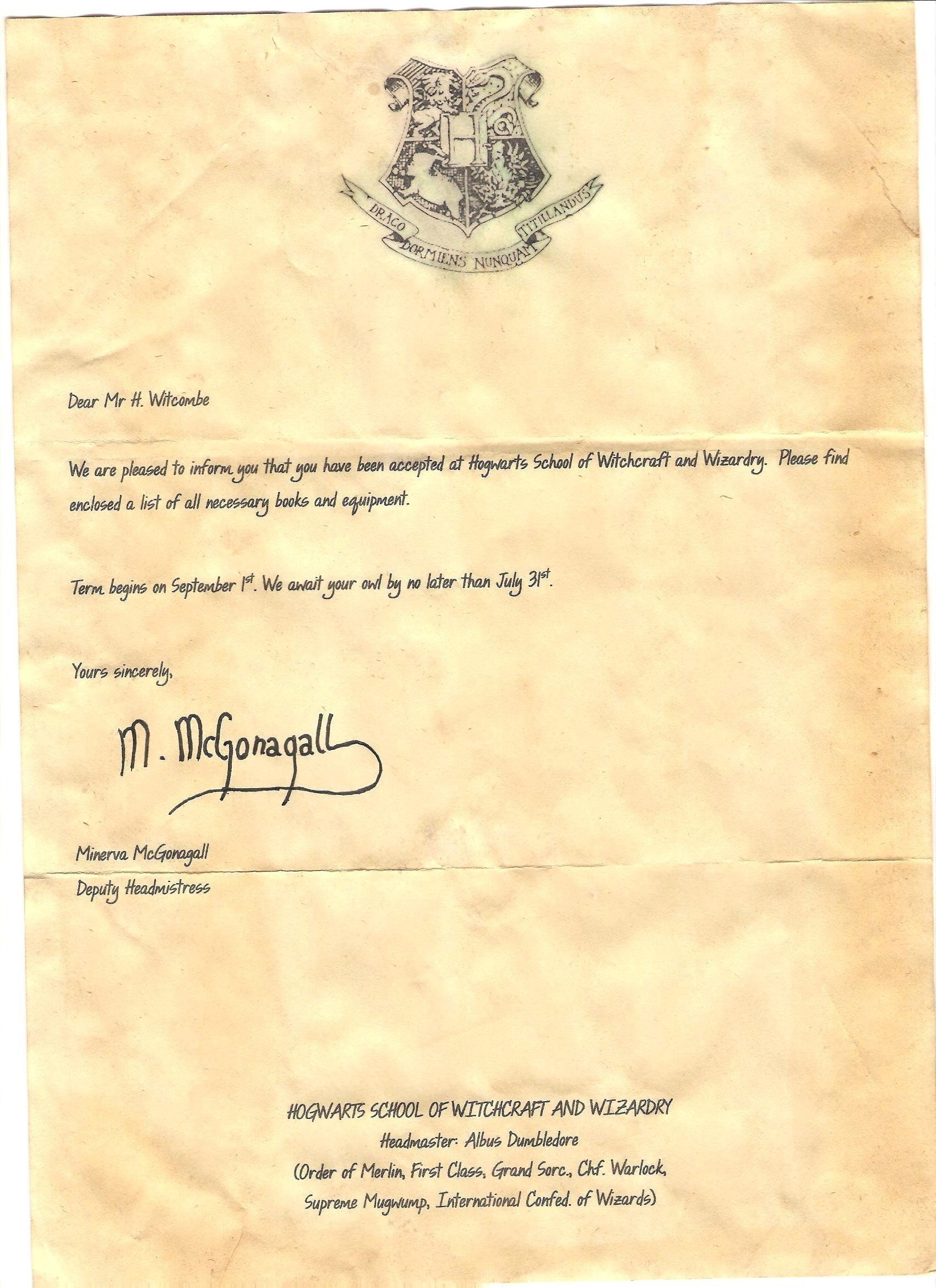 Harry Potter Invitation Letter Template - Hogwarts Letter Template Free New Harry Potter Hogwarts Acceptance