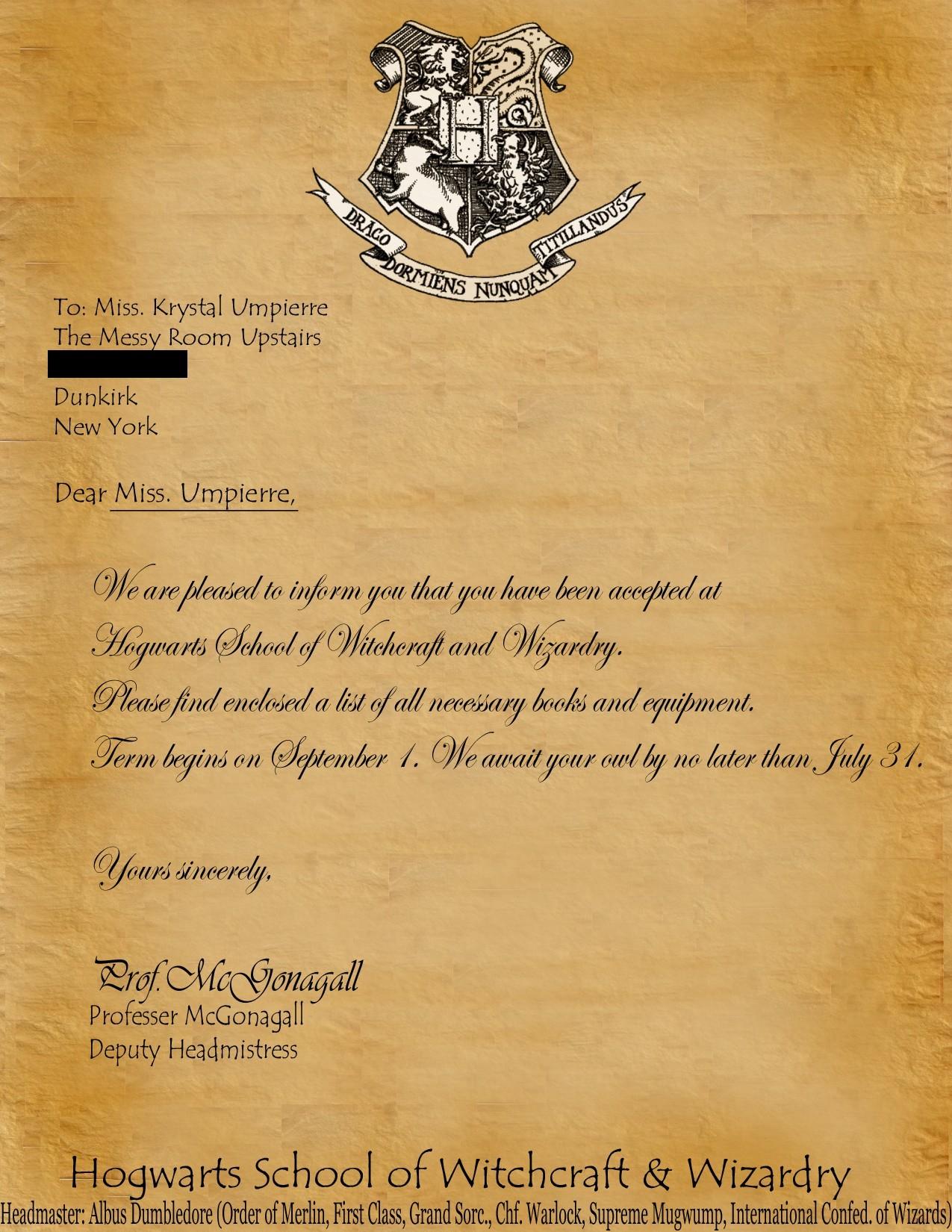 Hogwarts Acceptance Letter Template - Hogwarts Letter Template Free New Harry Potter Hogwarts Acceptance