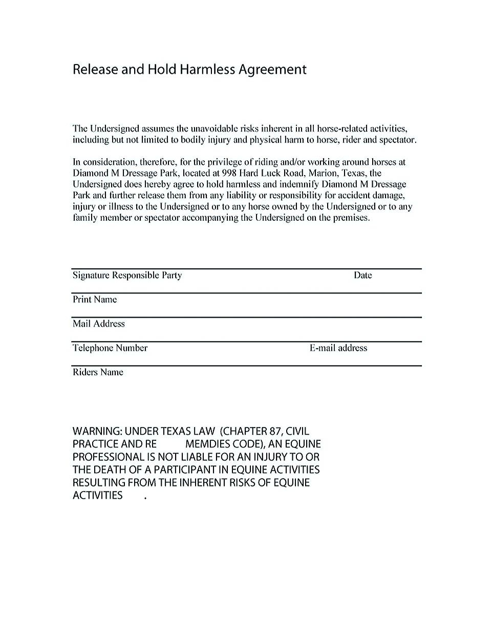 Hold Harmless Letter Template - Hold Harmless Agreement Florida Gallery Agreement Letter Sample format