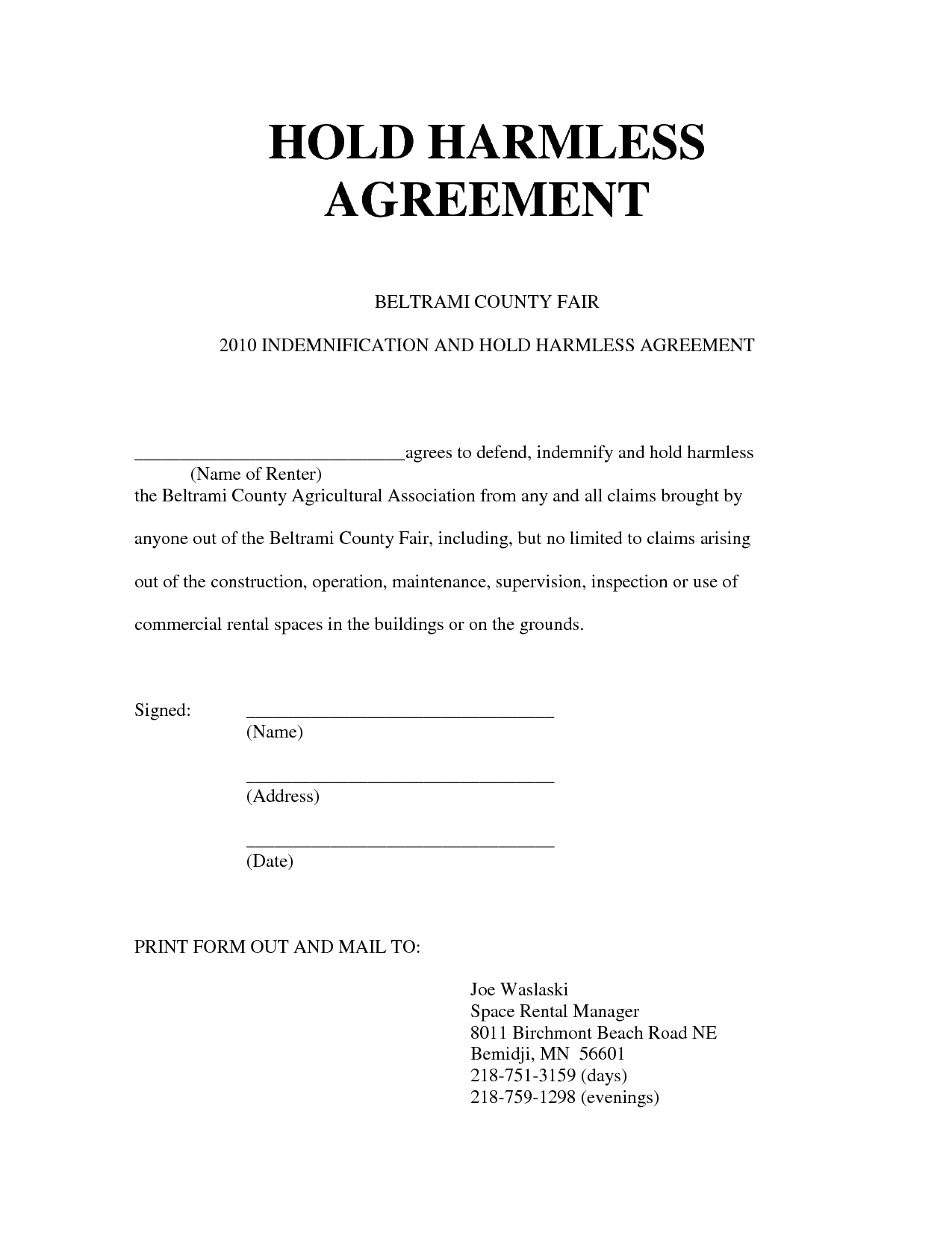 Hold Harmless Letter Template - Hold Harmless Agreement form