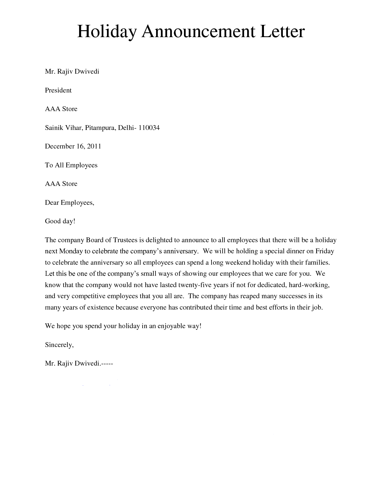 Holiday Letter Template - Holiday Announcement Letter Giving A Letter to Inform About the