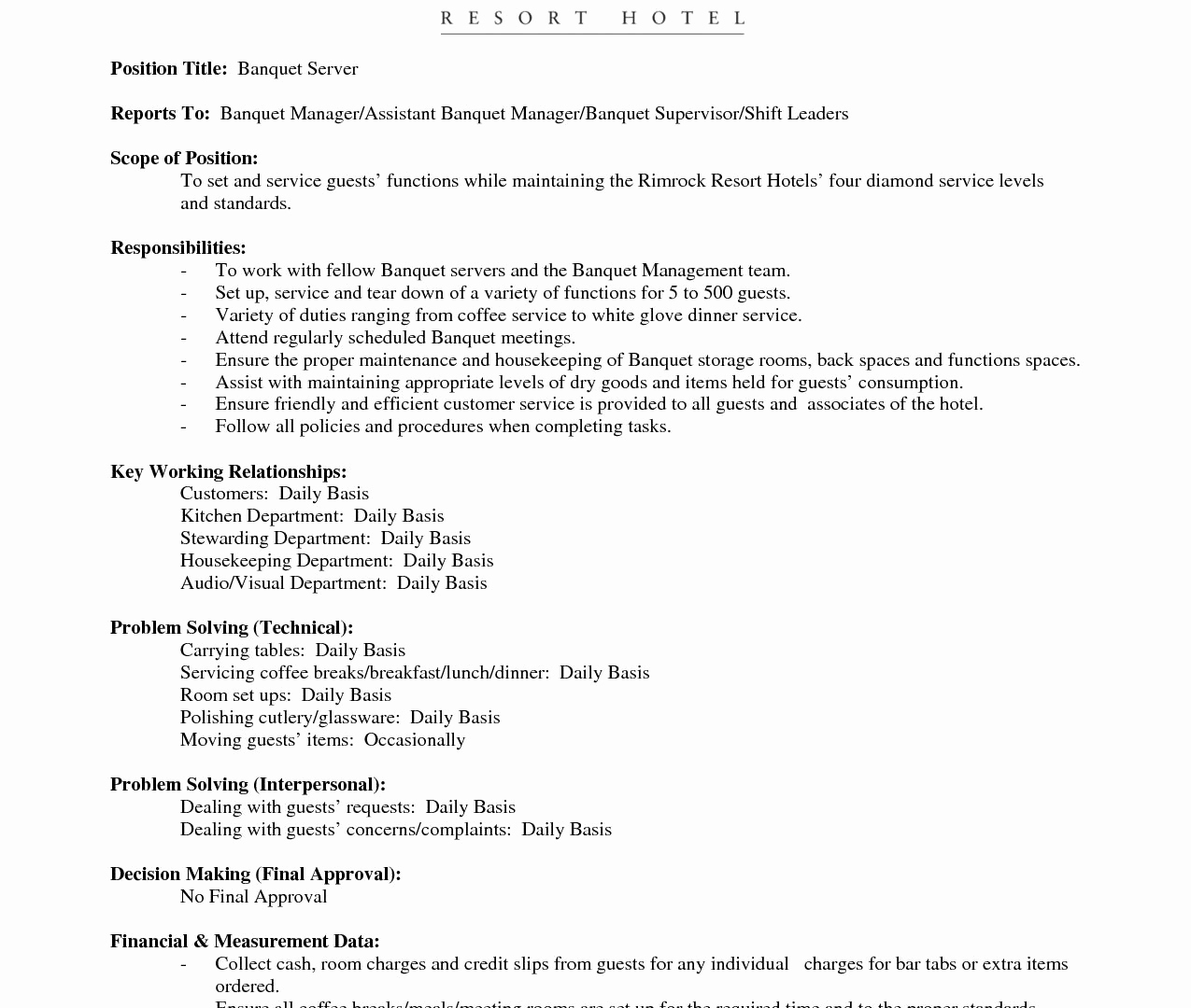 Hospitality Cover Letter Template - Hospitality Cover Letter Examples Elegant Fast Food Resume Examples