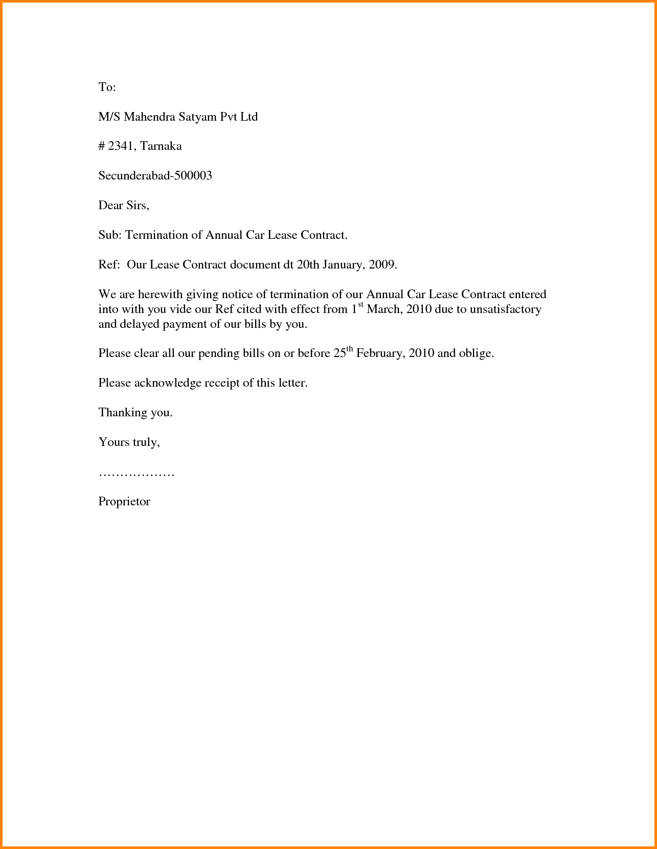 rent letter template example-Letter Template To End A Contract Copy Contract Letter Work Sample 11-i