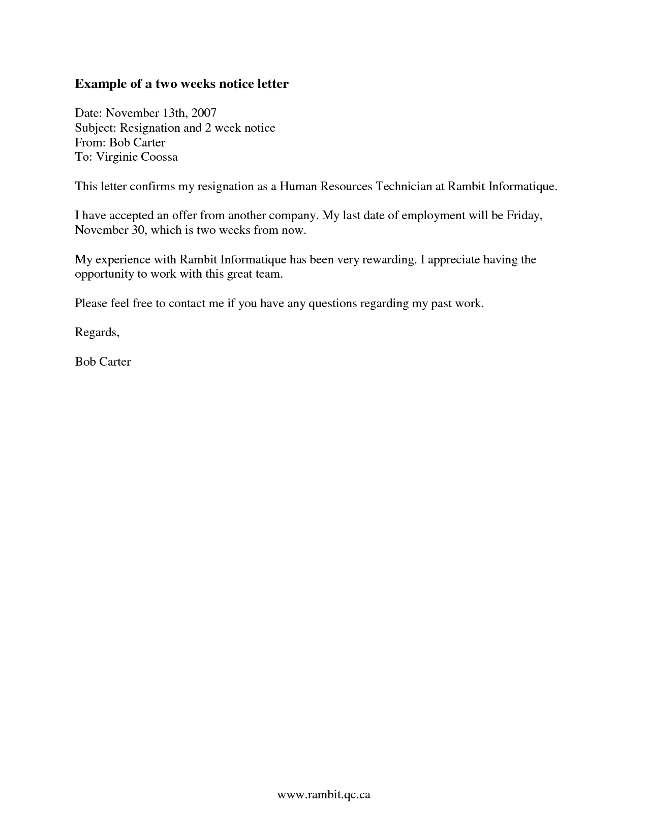 2 Week Resignation Letter Template - How to Find Examples Of Two Week Notice Recipes