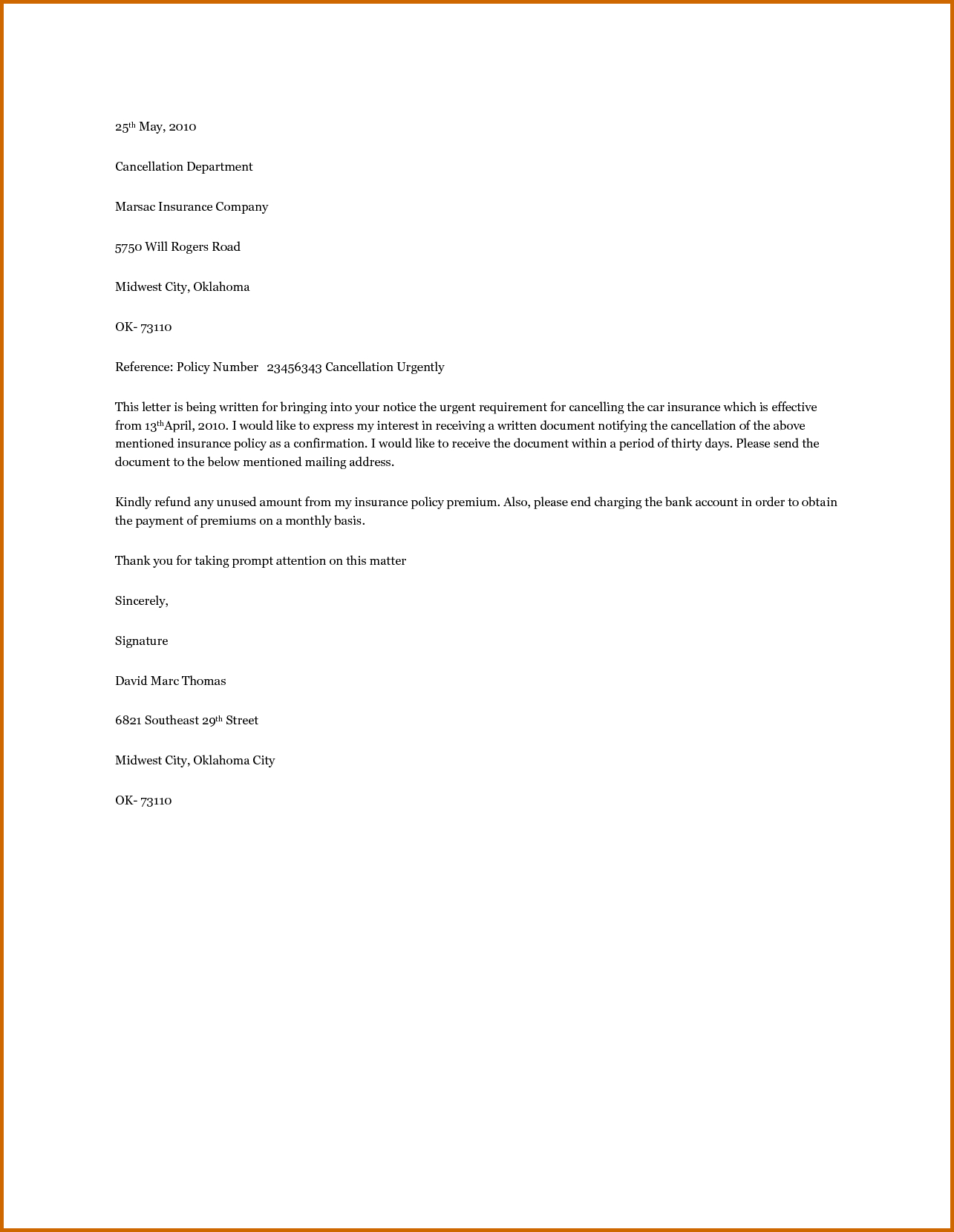 Car Insurance Cancellation Letter Template - How to Write A Cancellation Letter Choice Image Letter format