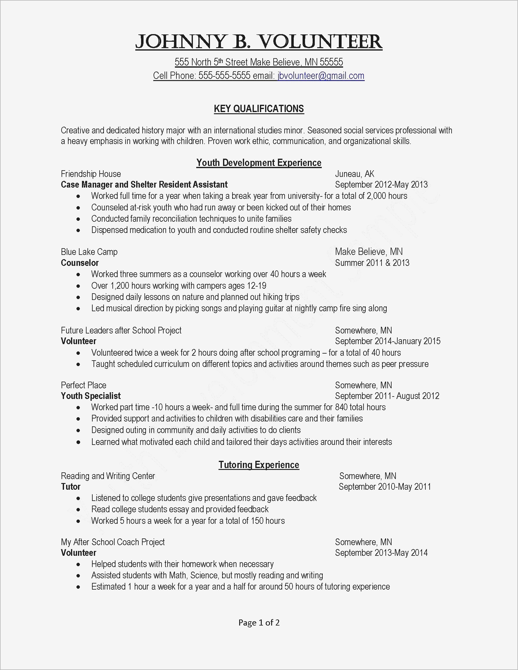 Template for Community Service Hours Letter - How to Write A Cover Letter for Volunteer Work