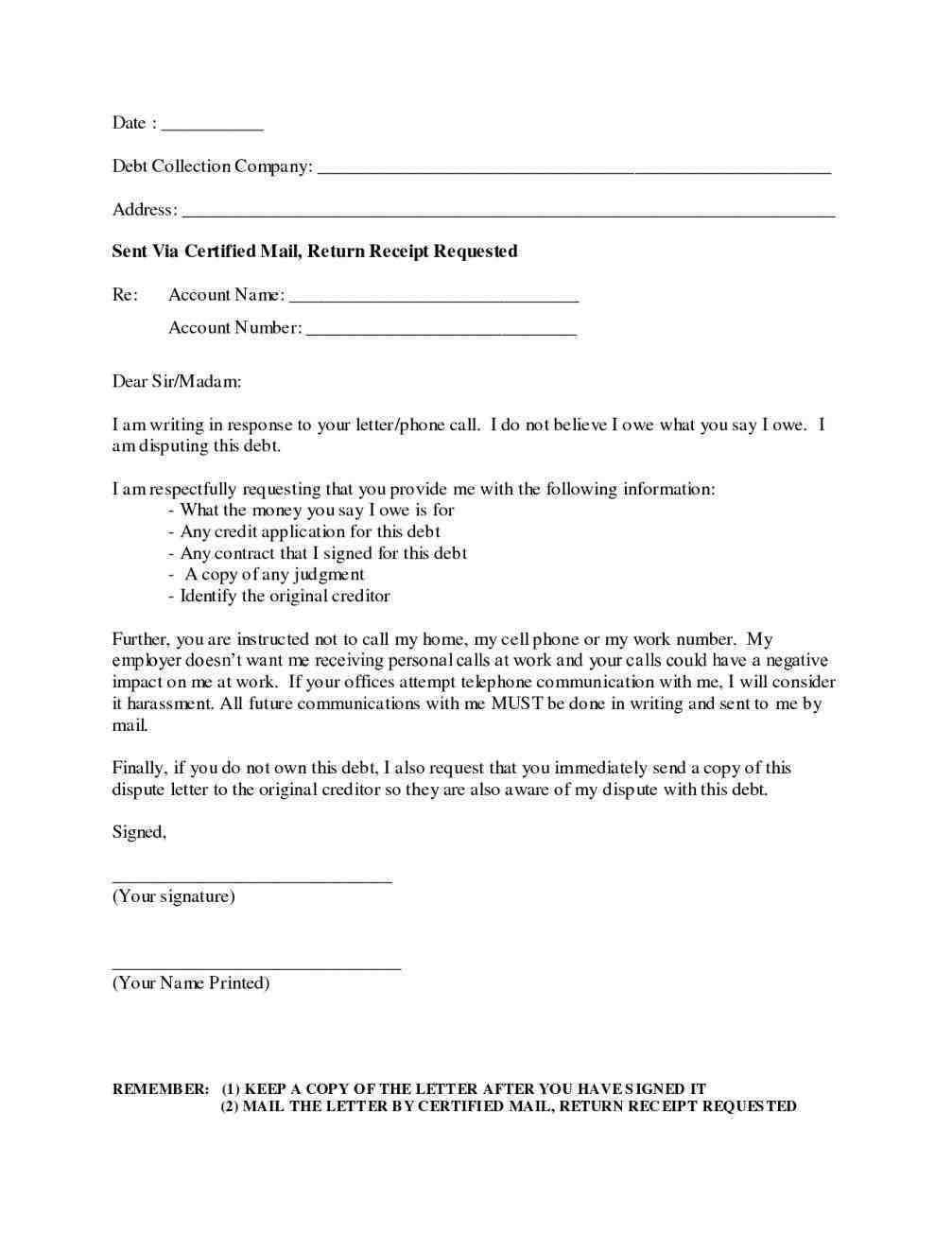 Debt Collection Template Letter Free - How to Write A Dispute Letter Debt Collector