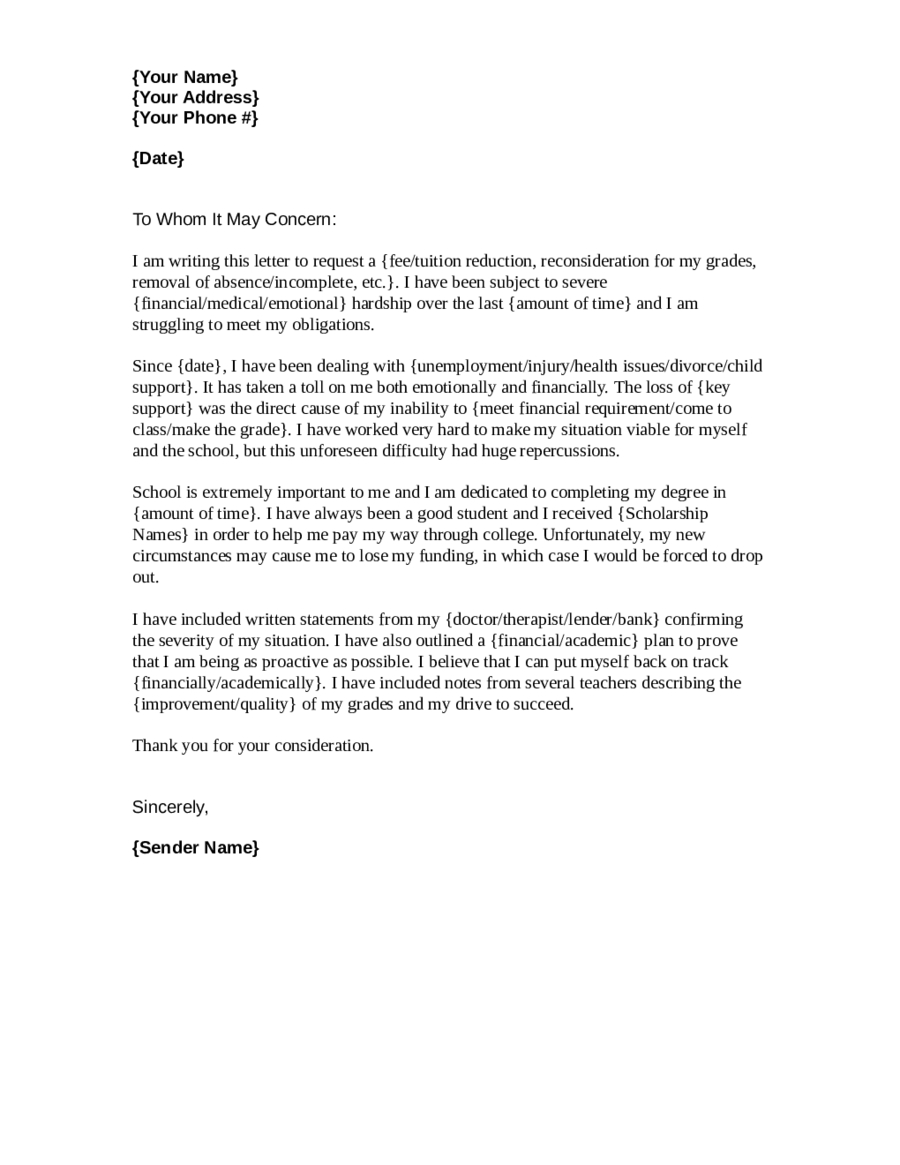 Financial Hardship Letter | Financial Hardship Letter Template Examples Letter Template Collection