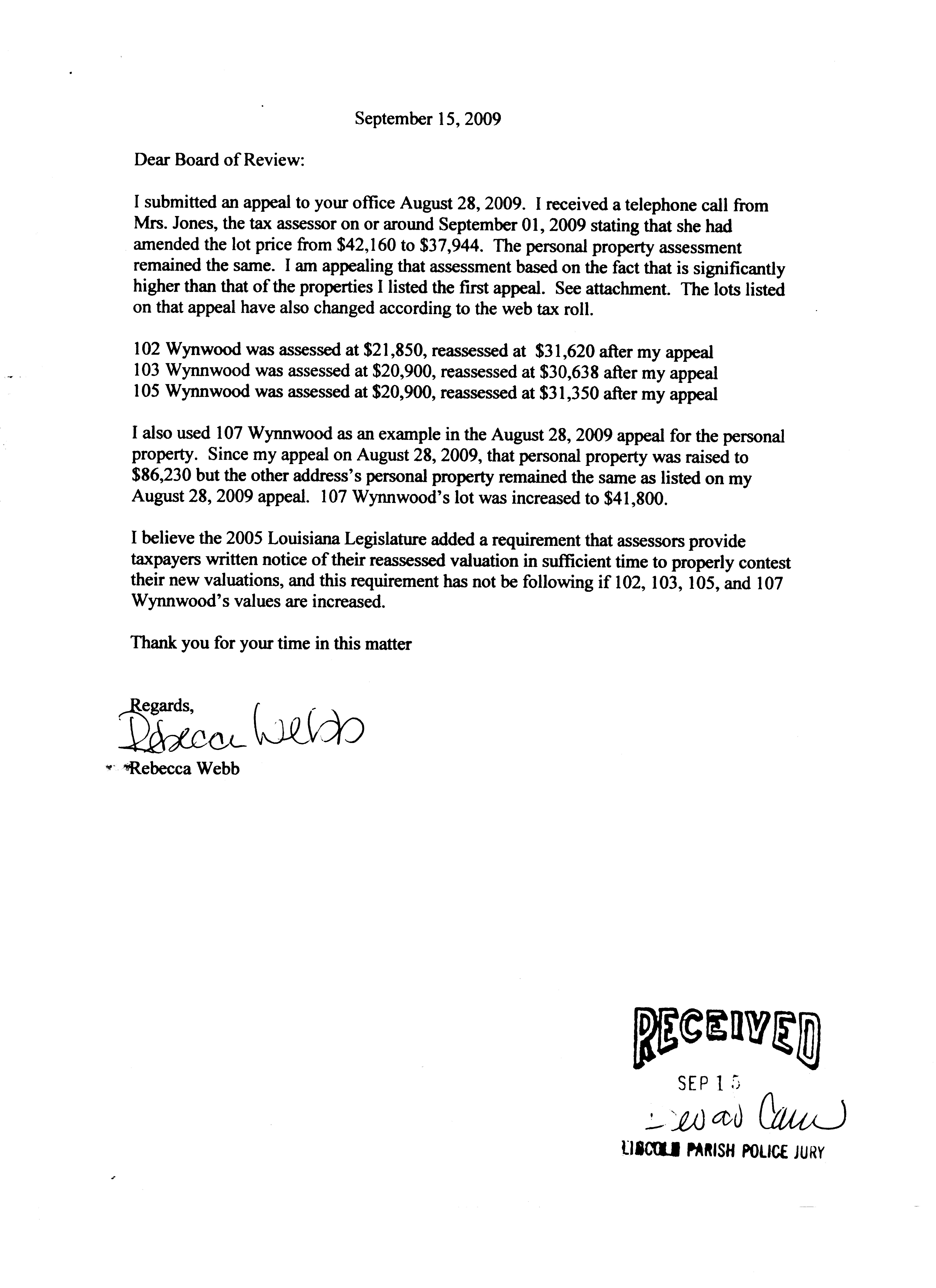 Sample Protest Letter For Property Tax