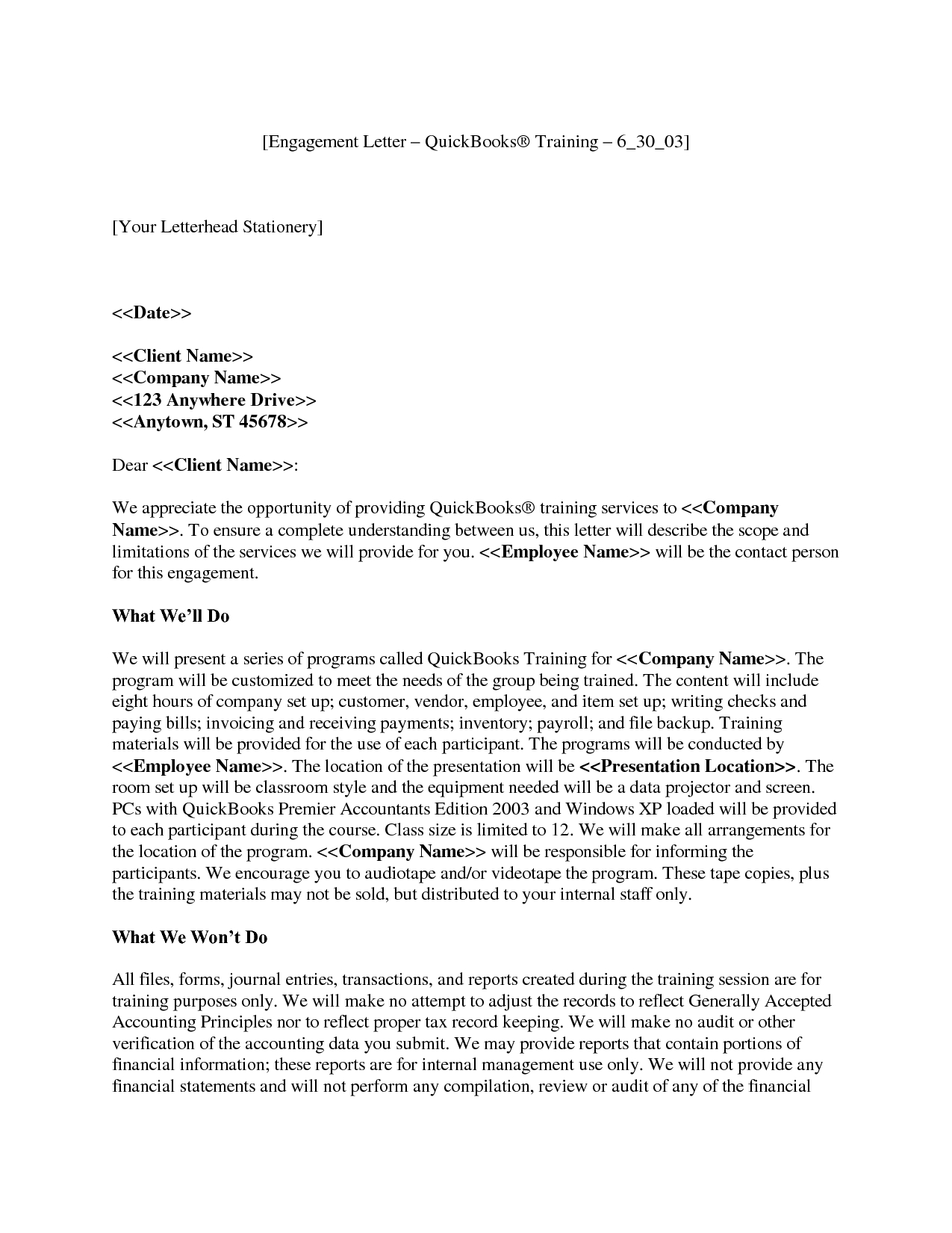 Tax preparation engagement letter template examples for Tax engagement letter template