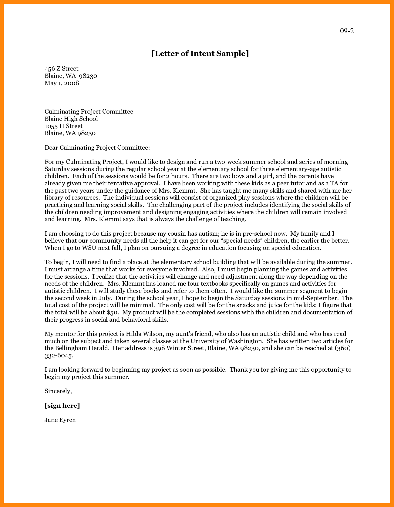 Special Needs Letter Of Intent Template Collection | Letter