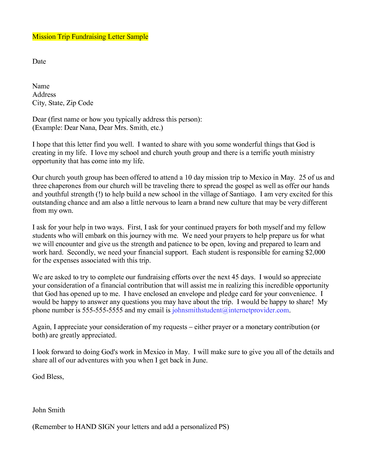 Mission Trip Letter Template - How to Write A Mission Trip Support Letter Choice Image Letter