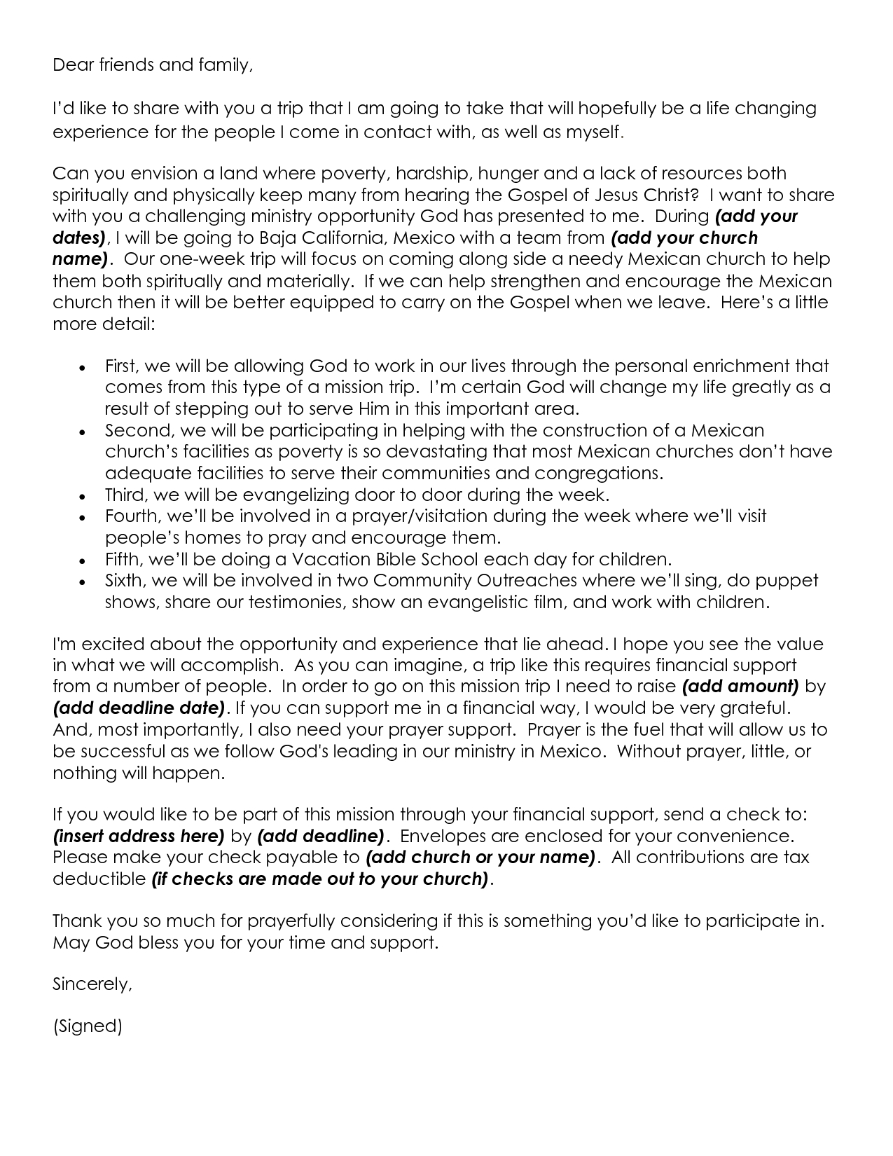 Template For Mission Trip Support Letter Samples Letter Template