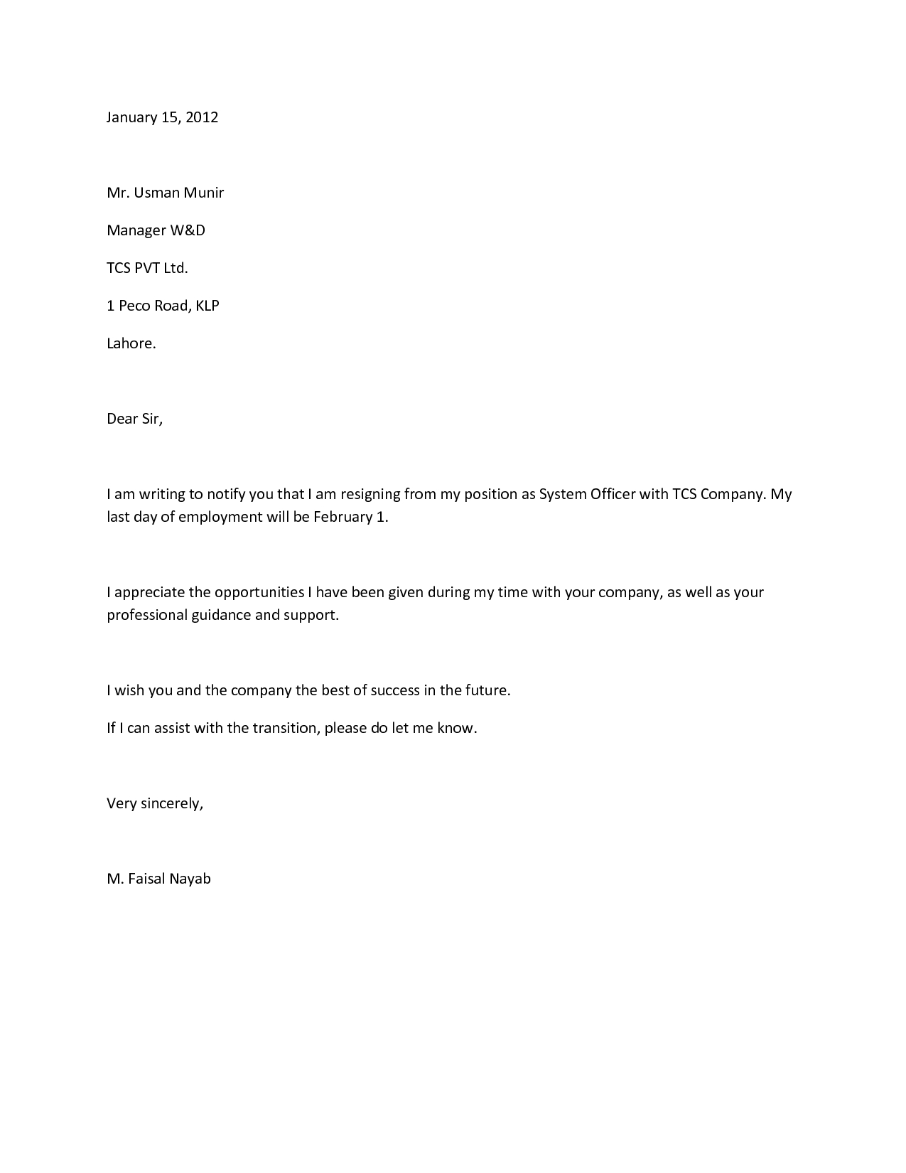 7 Day Notice Letter Construction Template - How to Write A Proper Resignation Letter Images
