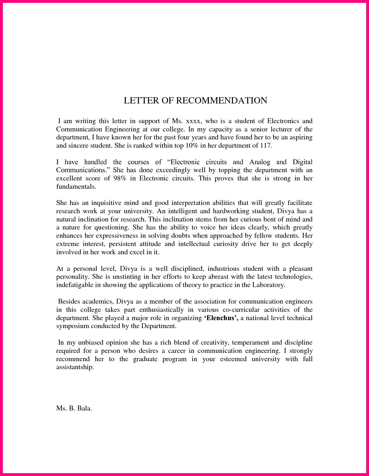 pt school letter of recommendation   Hadi.palmex.co