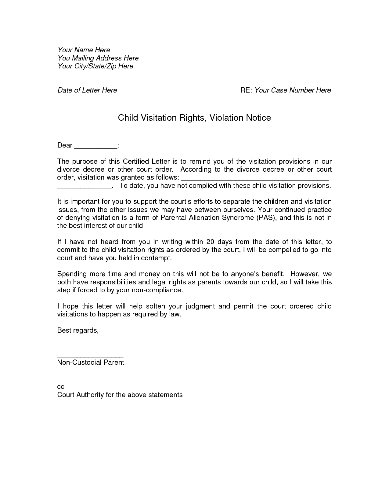 Child Visitation Letter Template - How to Write A Visitation Letter Letter format formal Sample