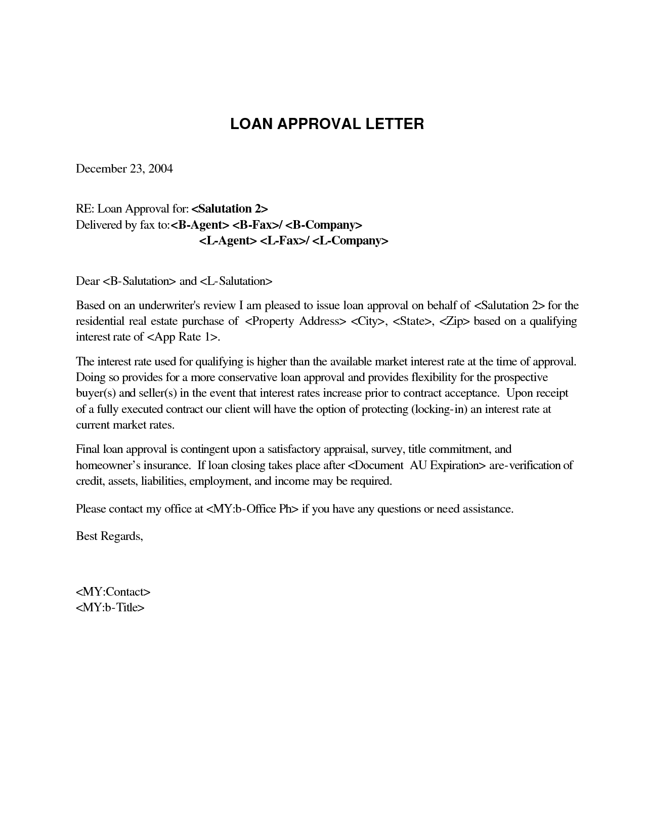 mortgage pre approval letter template samples