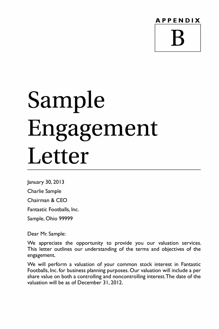 Business Valuation Engagement Letter Template - How to Write An Engagement Letter Letter format formal Sample