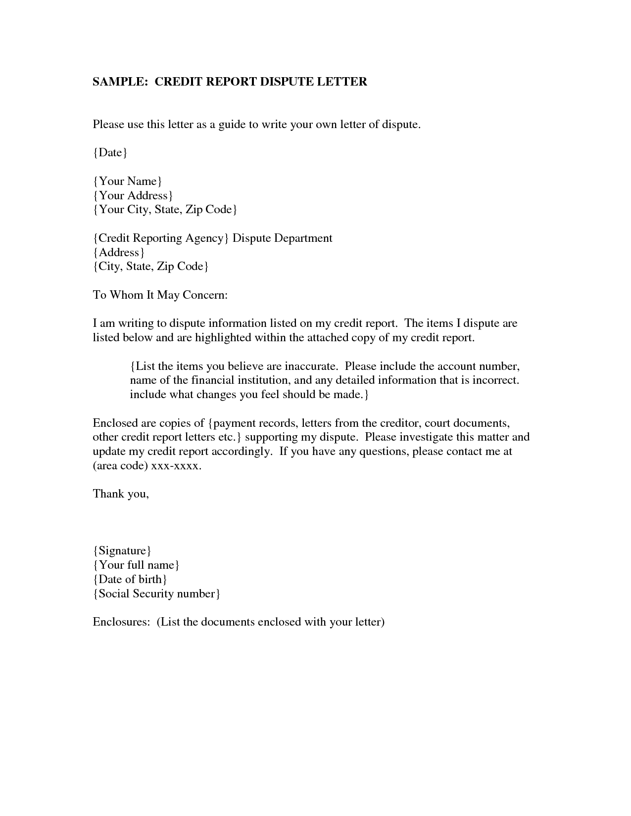 Experian Dispute Letter Template - How to Write Credit Dispute Letter Image Collections Letter format