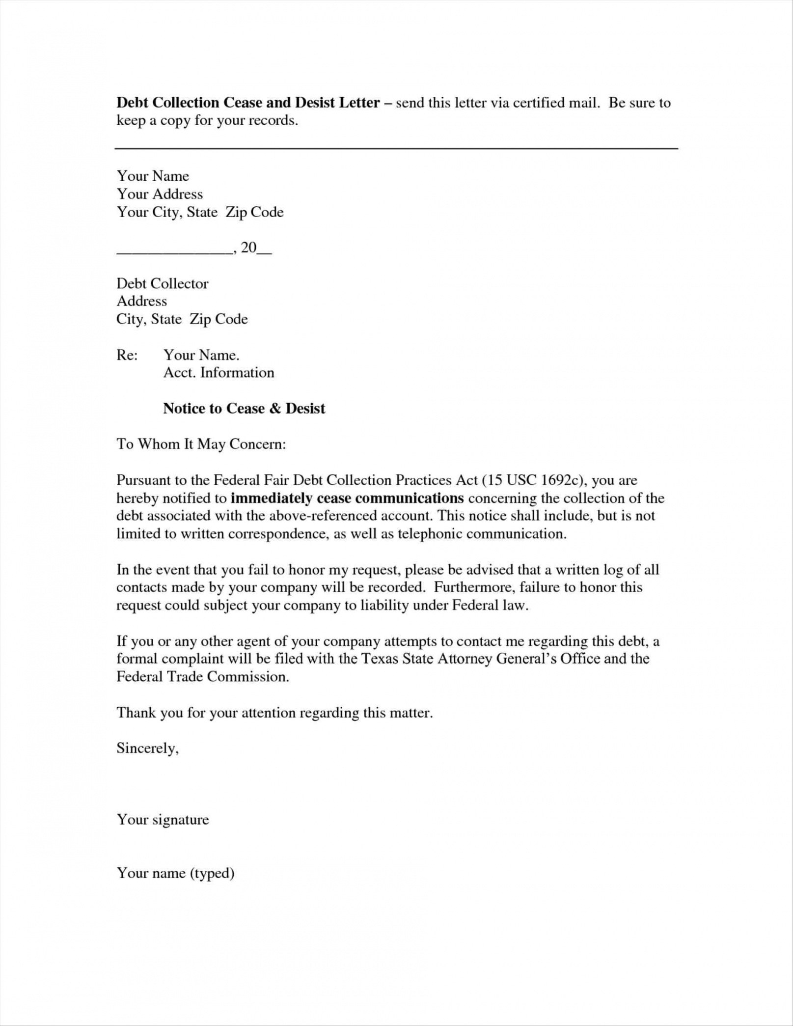 Cease and Desist Creditor Letter Template - How to Write Debt Collection Letter Letter format formal Sample
