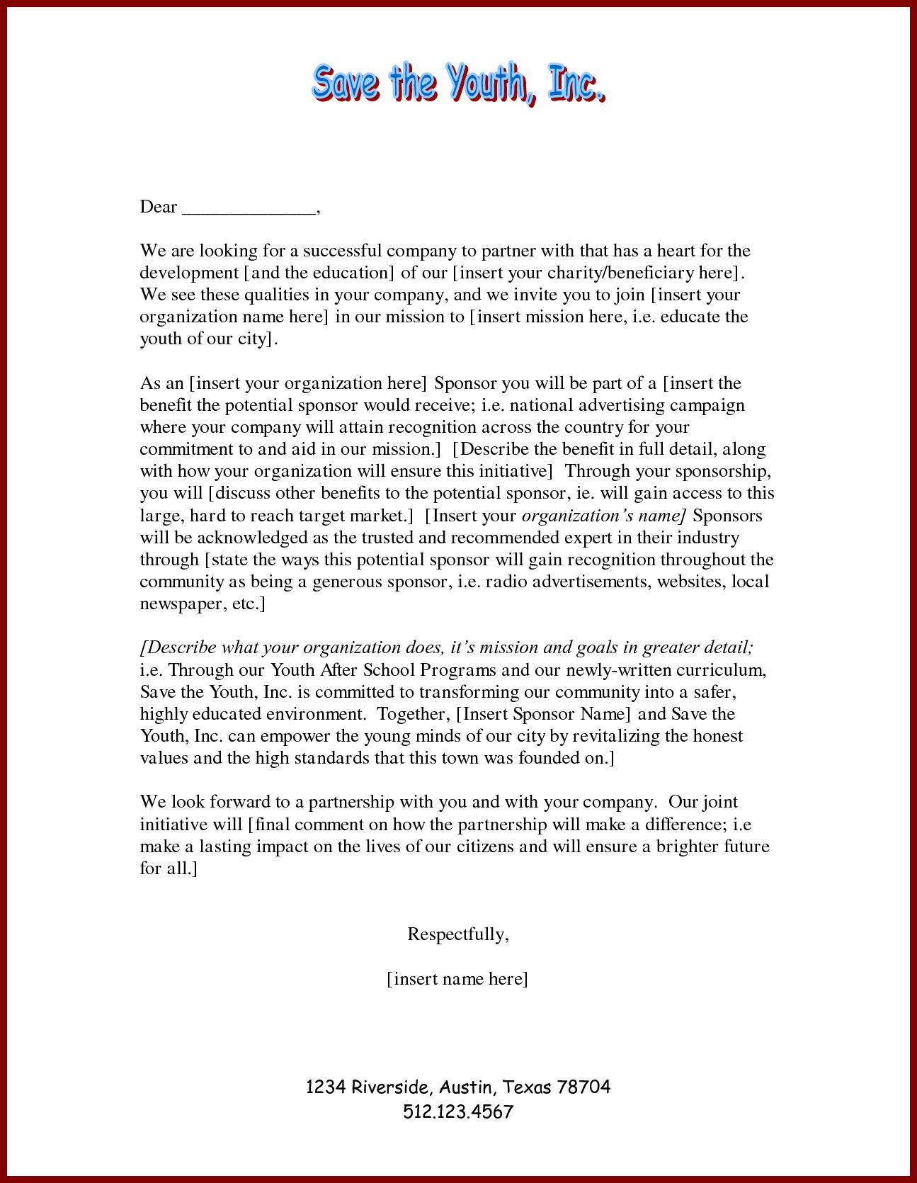 School Sponsorship Letter Template - How to Write Sponsorship Letter Gallery Letter format formal Sample