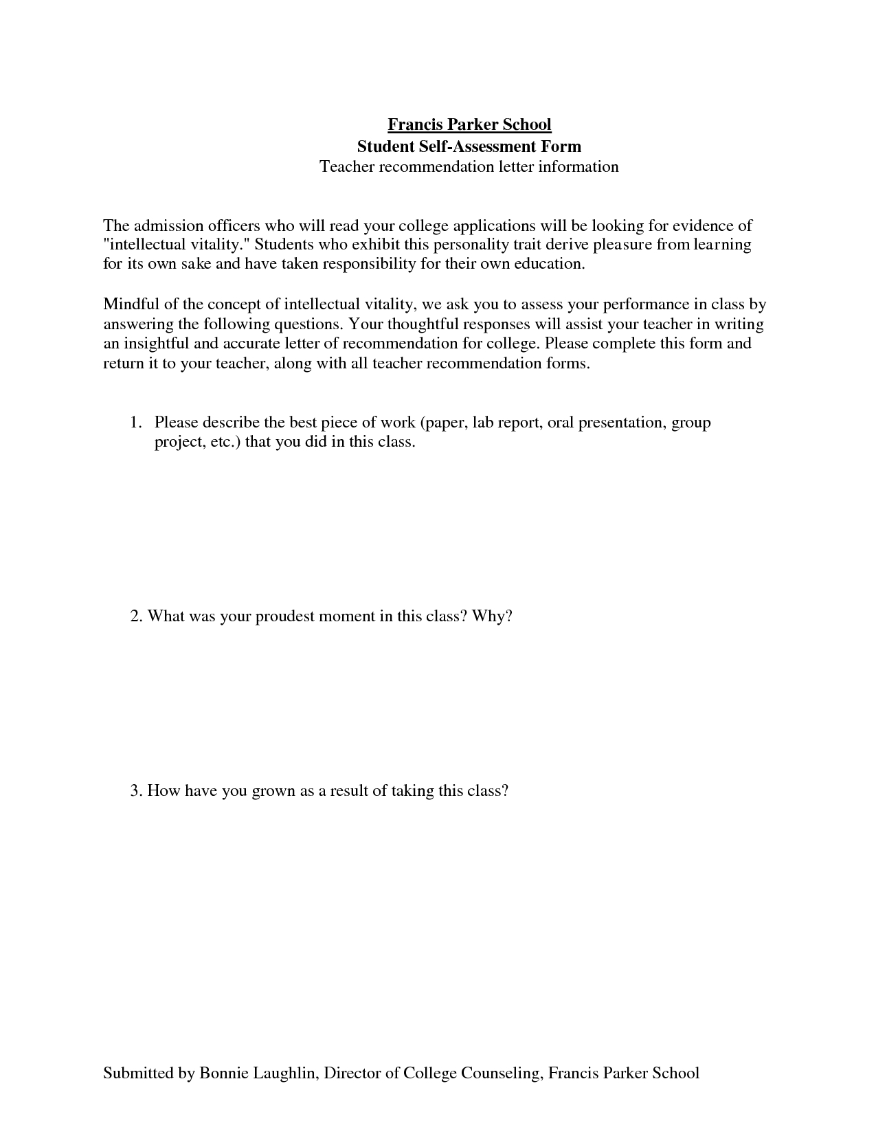 Letter Of Recommendation For Yourself Template Examples Letter