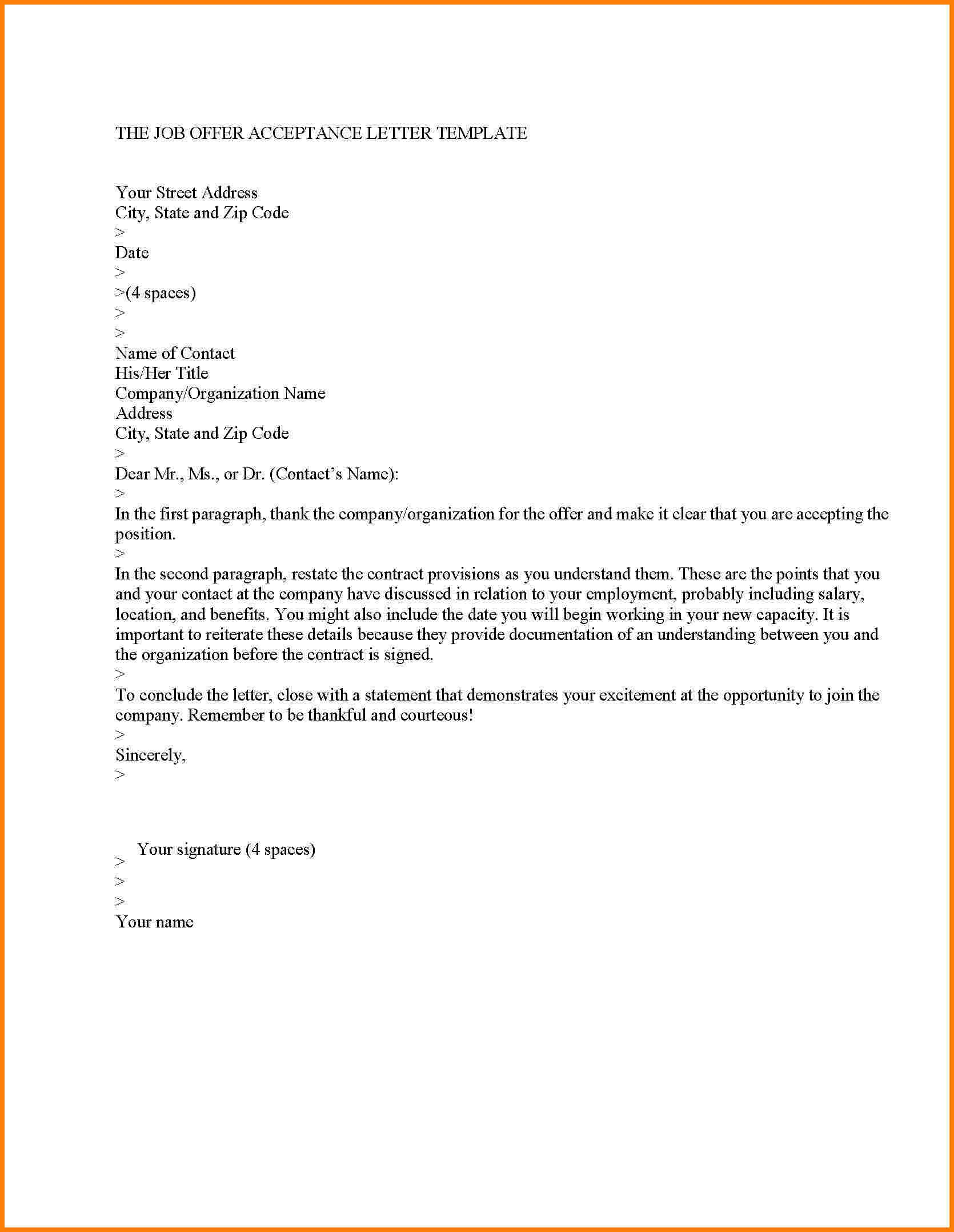 Job Offer Letter Template Pdf - Ideas Of Offer Letter Templates In Doc 50 Free Word Pdf Documents