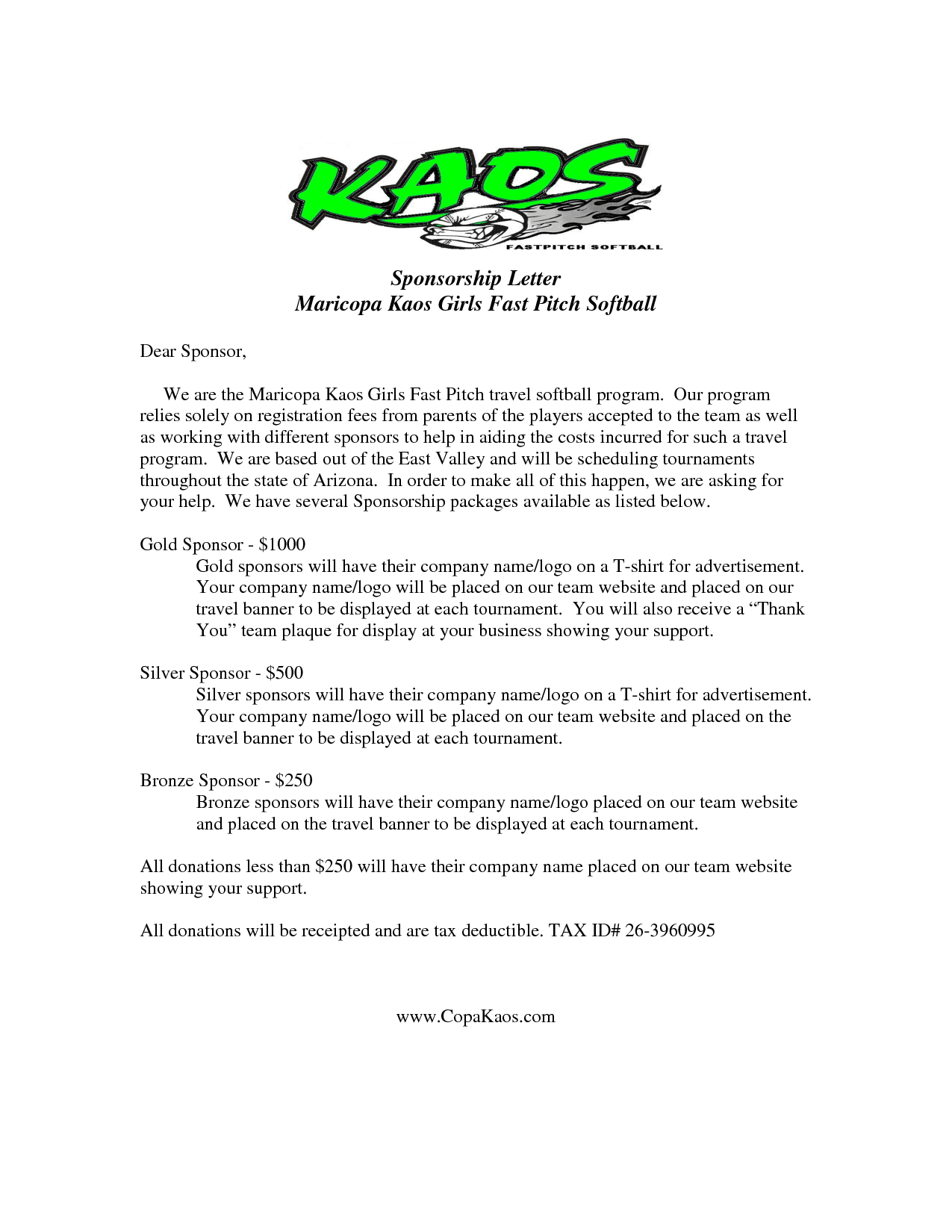 Softball Sponsorship Letter Template - Image Result for Sample Sponsor Request Letter Donation