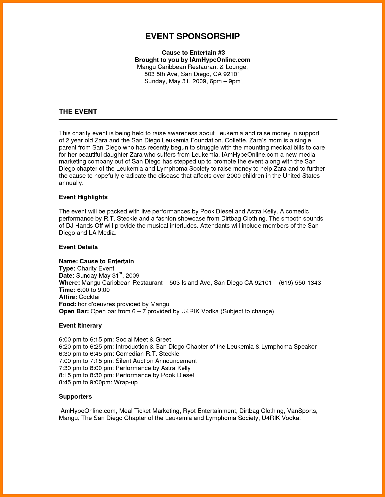 Sponsorship Proposal Letter Template - Image Result for Sponsorship Proposal Template Financetemplate