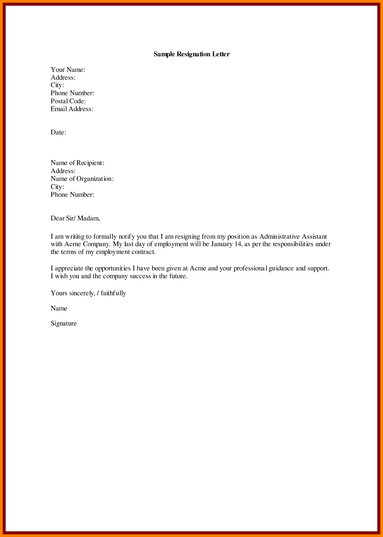 Immediate Resignation Letter Template Samples Letter Template