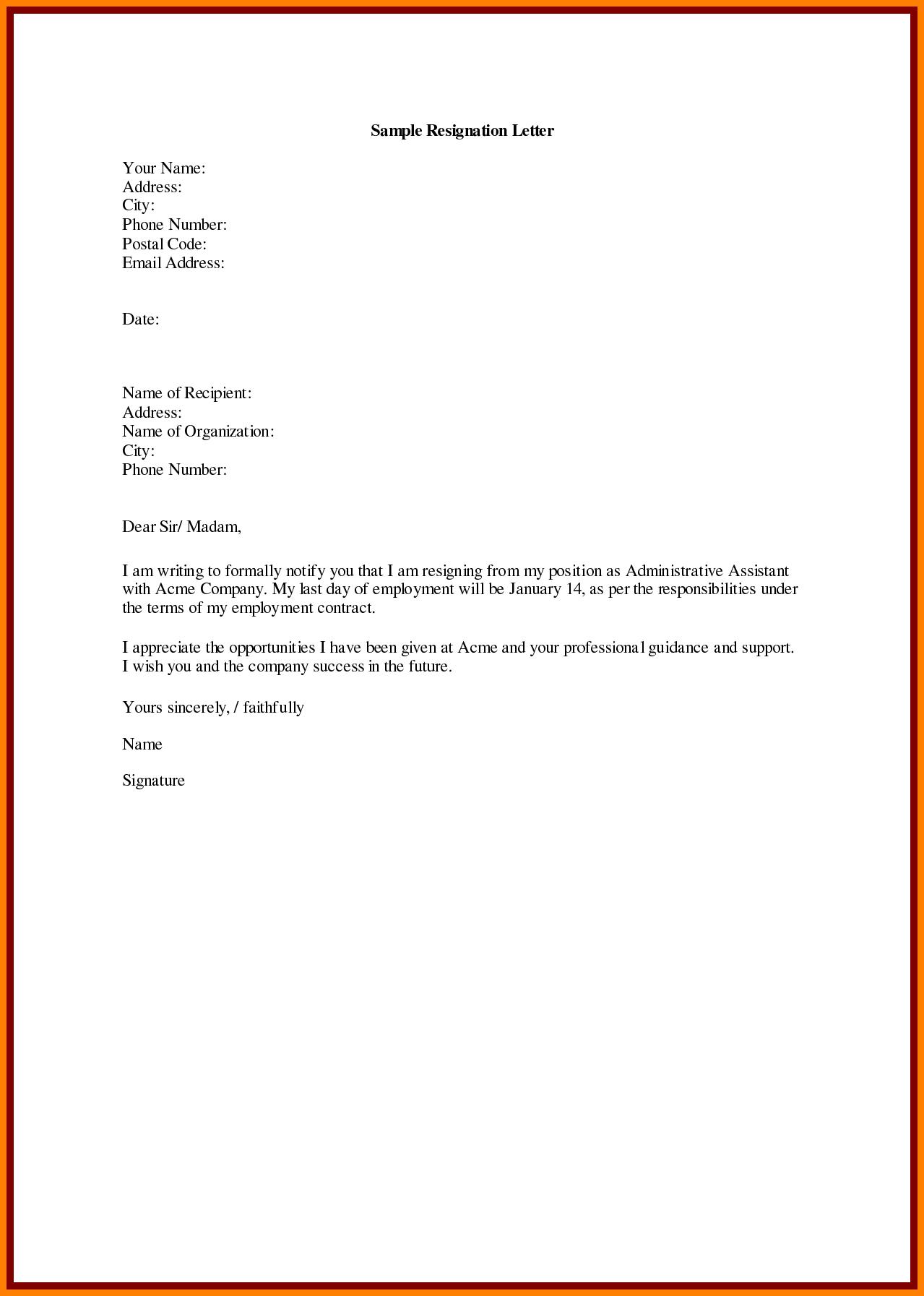 Immediate Resignation Letter Template - Immediate Resignation Letter for Personal Reasons Resination Sample