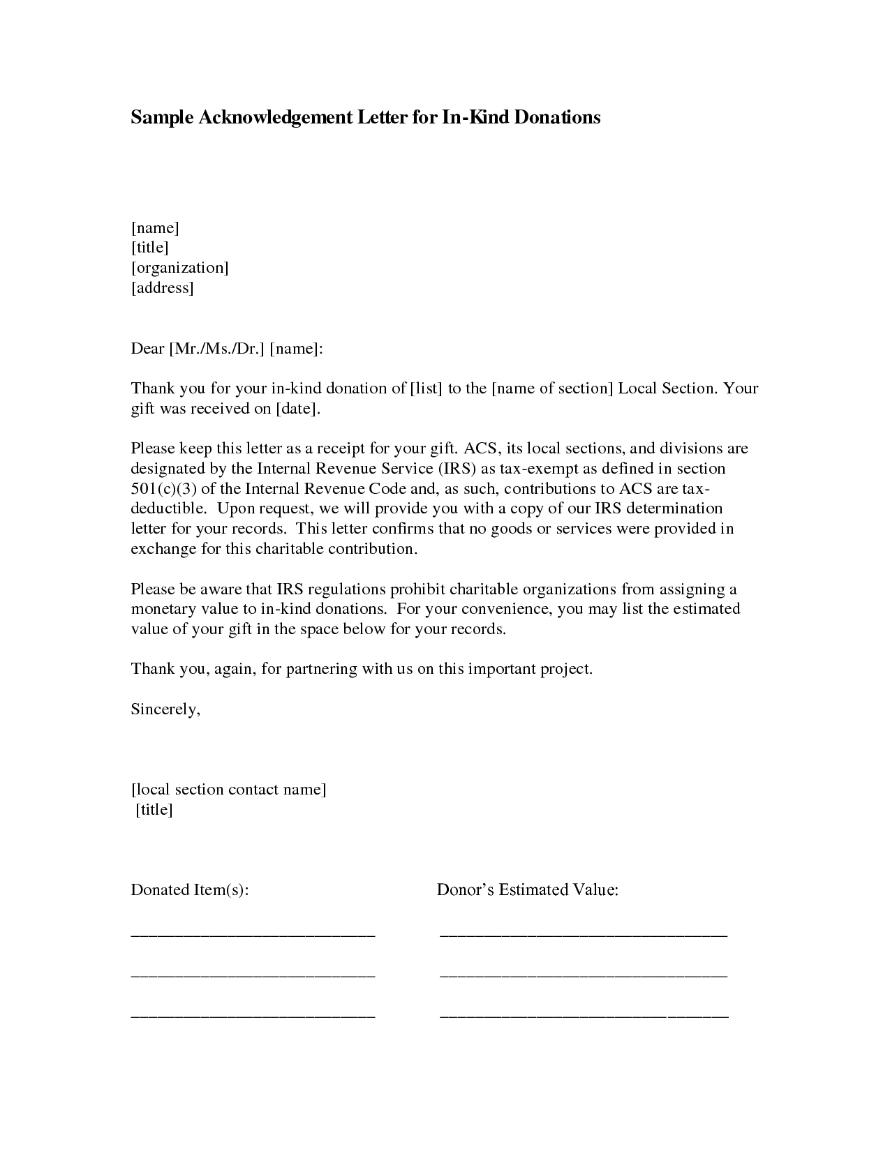 Acknowledgement Of Donation Letter Template - In Kind Donation Acknowledgement Include Photos Swim