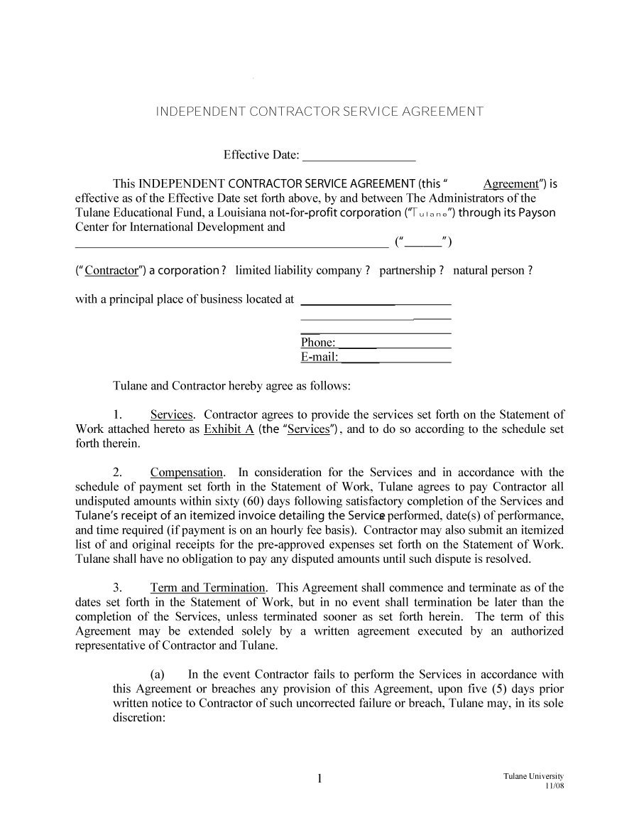 Termination Of Contract Agreement Letter Template - Independent Contractor Agreement Samples