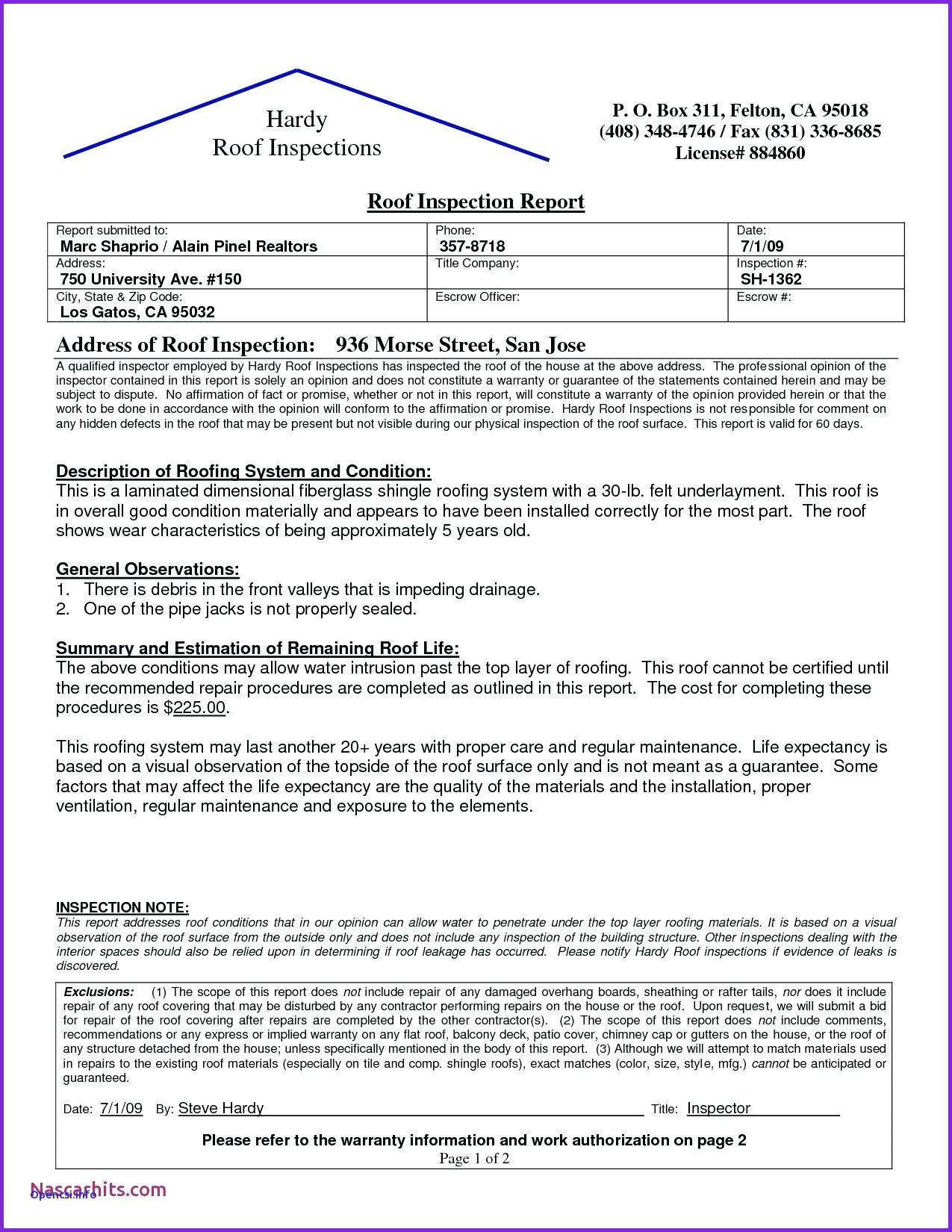 Roof Inspection Letter Template - Inspection Report Template Word Best Fresh Roof Inspection Report