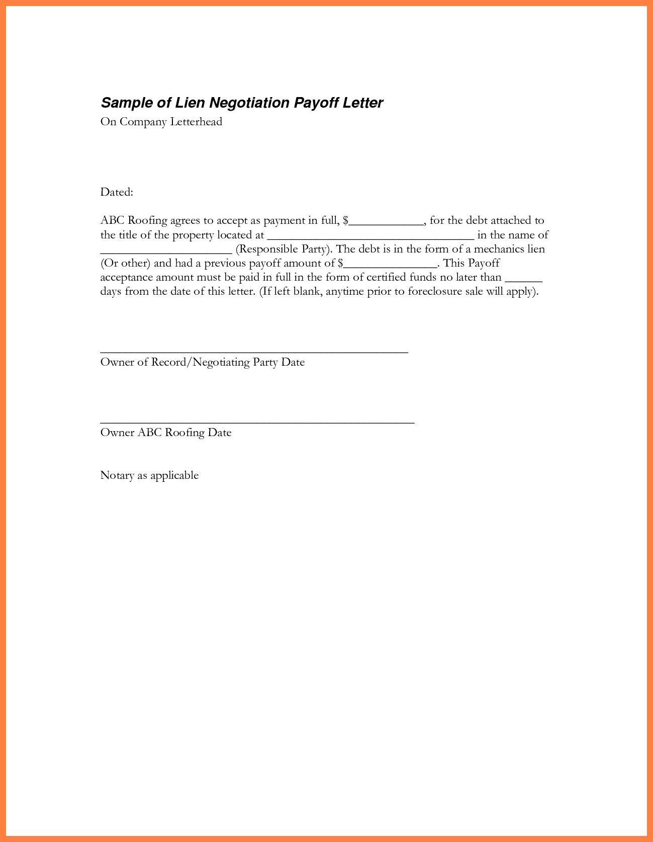 Mortgage Payoff Letter Template - Inspiration 9 Best Sample Loan Payoff Letter form Loan Payoff