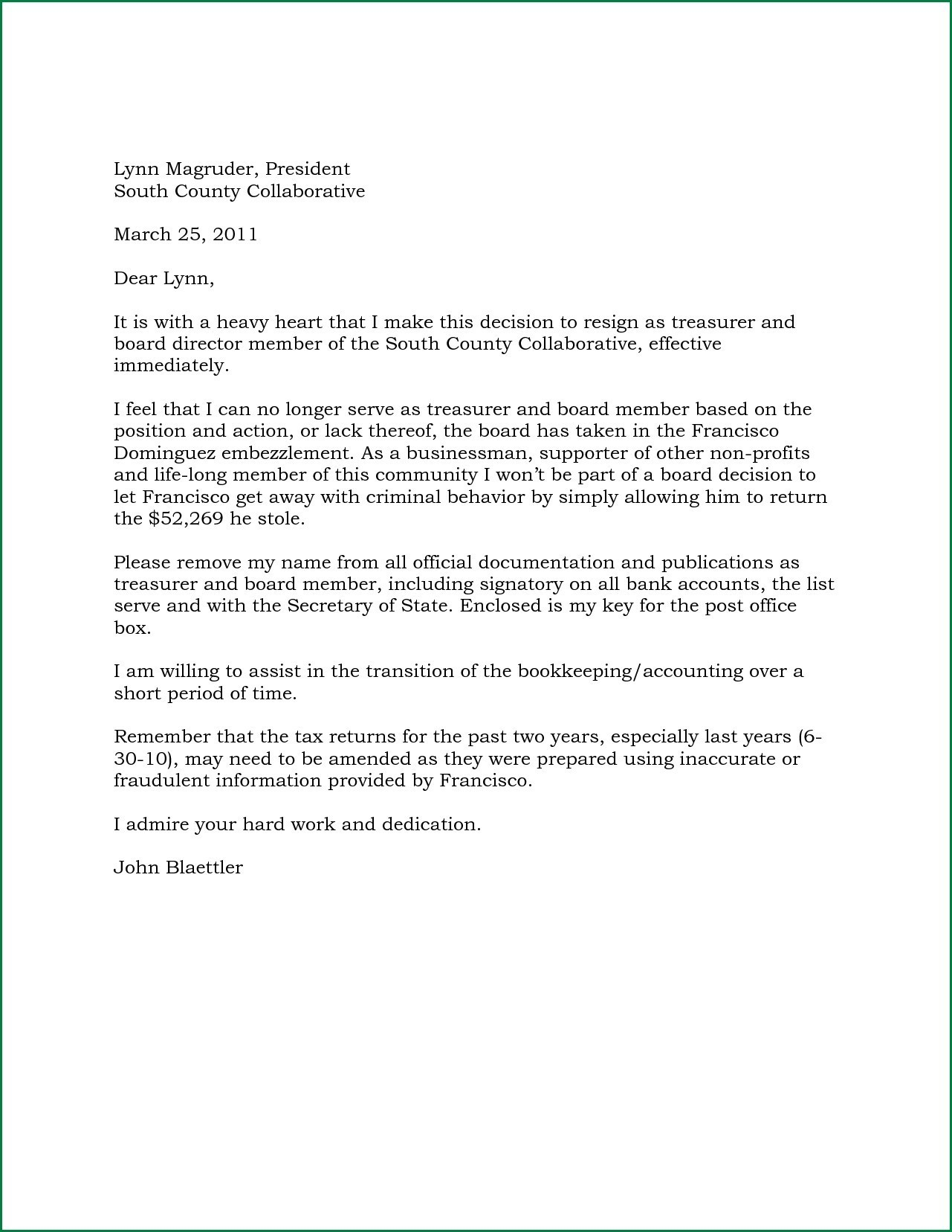 resignation letter volunteer organization