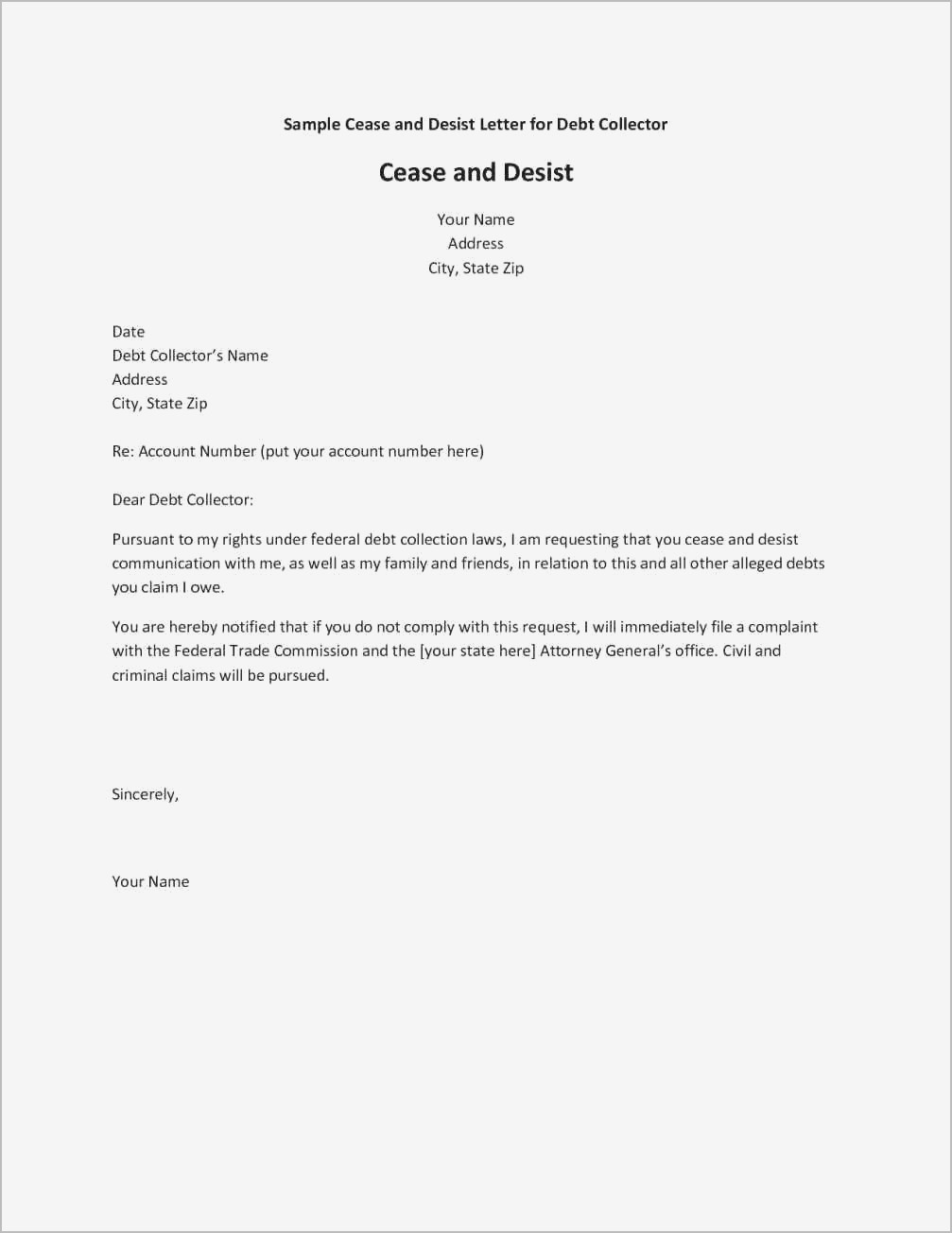Cease and Desist Collection Agency Letter Template - Inspirational Cease and Desist Letter Example Your Template