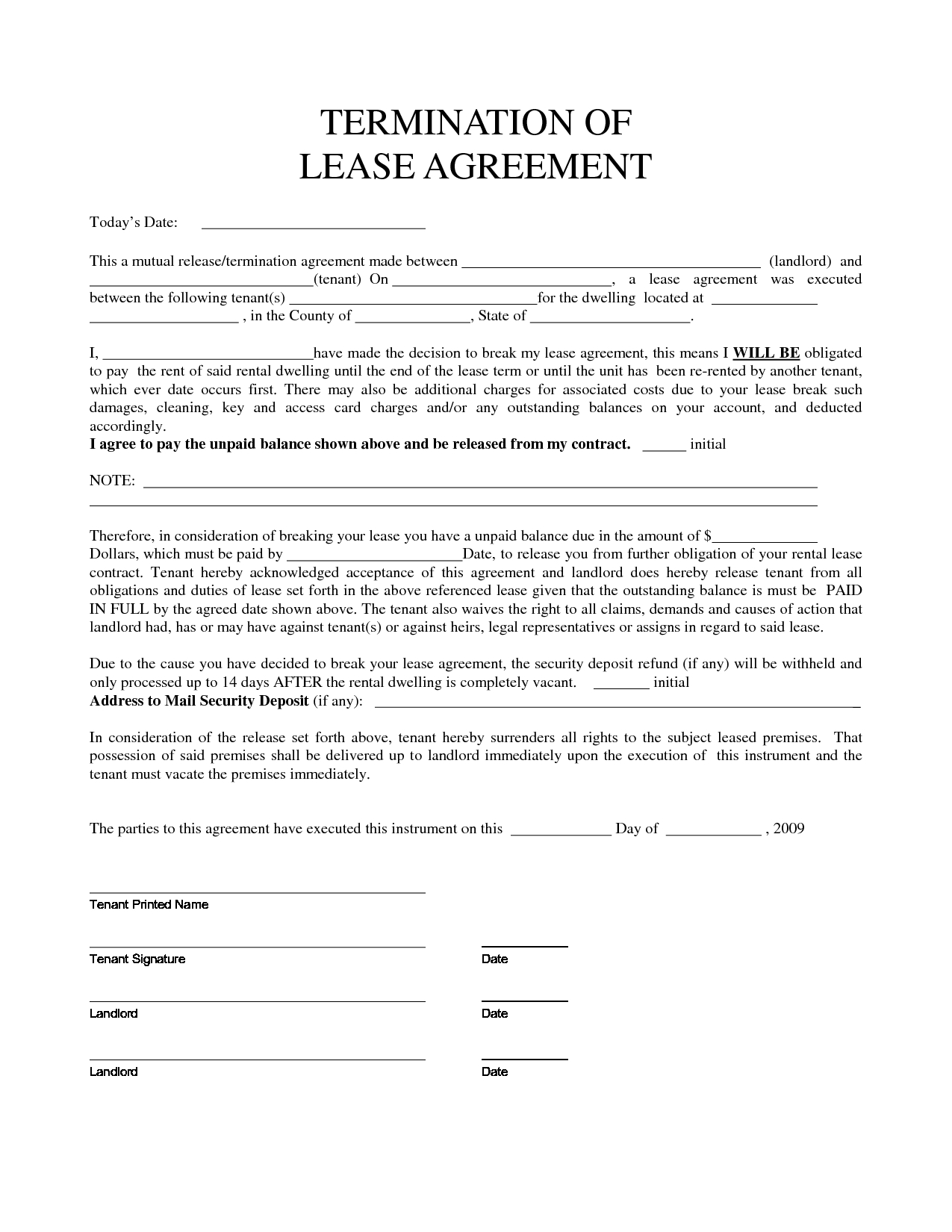 Early Lease Termination Letter to Landlord Template - Inspirational Early Lease Termination Letter Your Template
