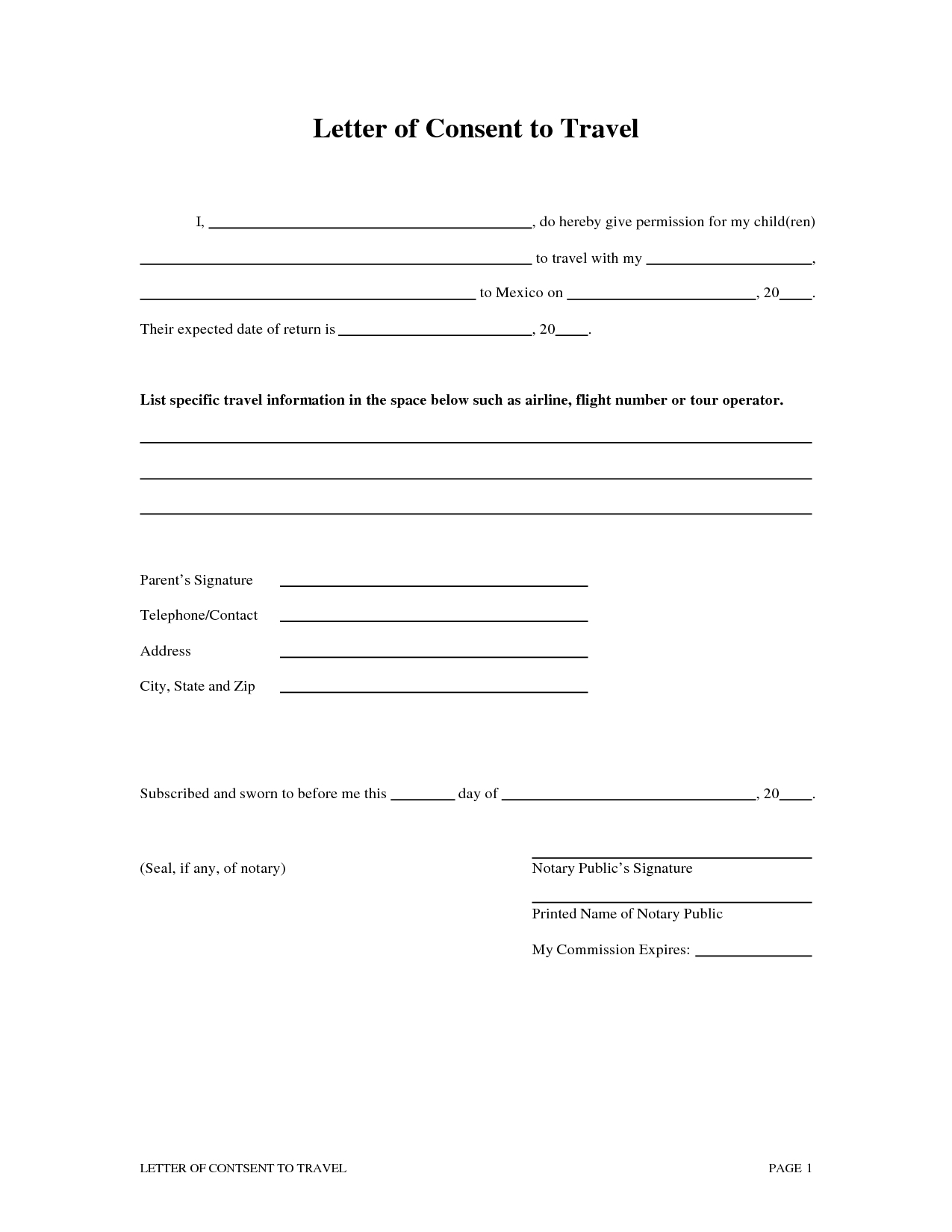 Letter Of Consent for Travel Of A Minor Child Template - Inspirational Notarized Letter Template for Child Travel Your
