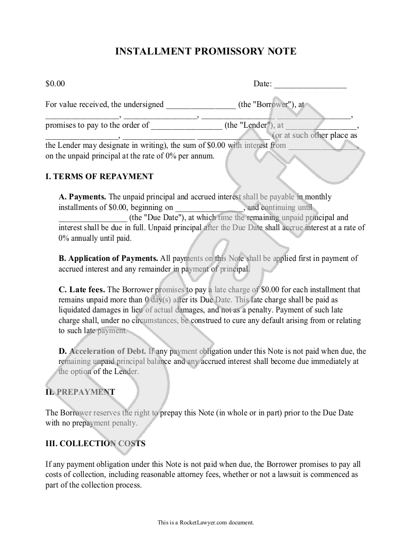 Promise to Pay Letter Template - Installment Promissory Note Promissory Note with Installment