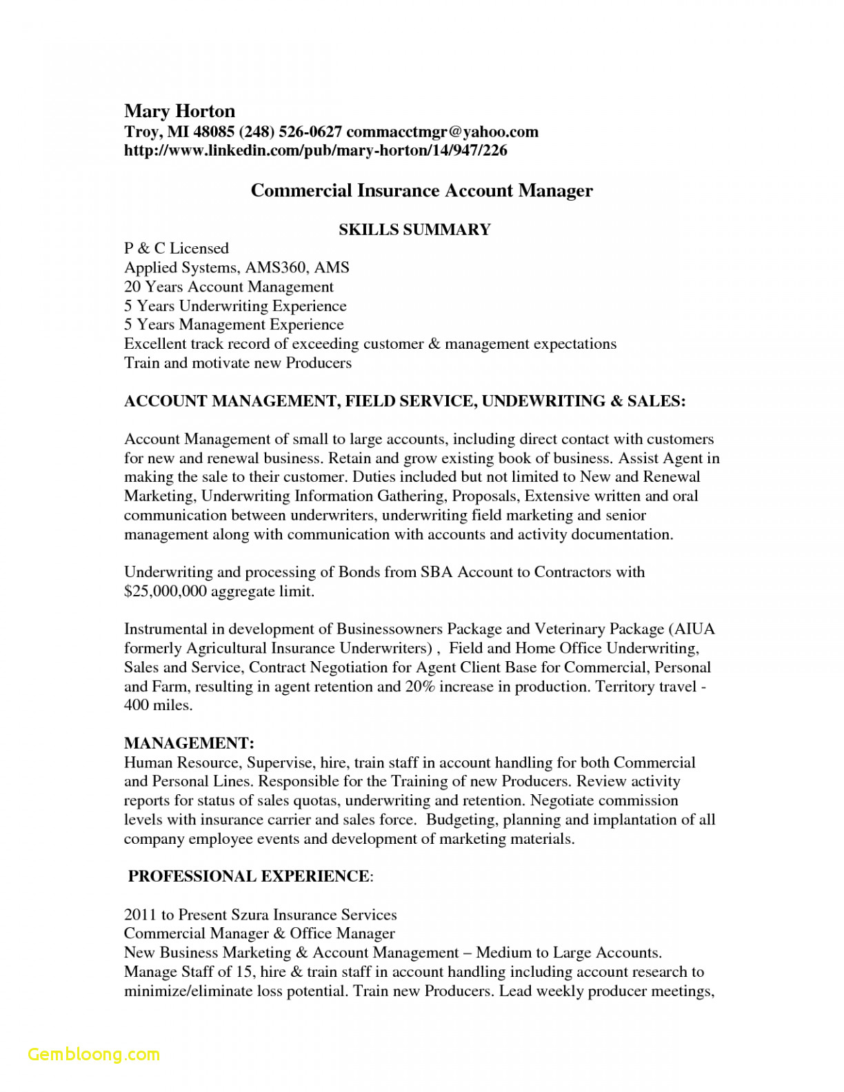 Insurance Marketing Letter Template - Insurance Resume Templates Download now Professional Job Resume