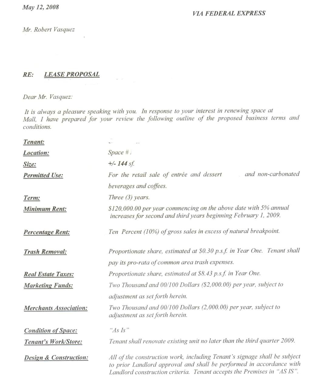 Letter Of Intent Lease Template - Intent to Break Lease Letter Fice Space Template Property