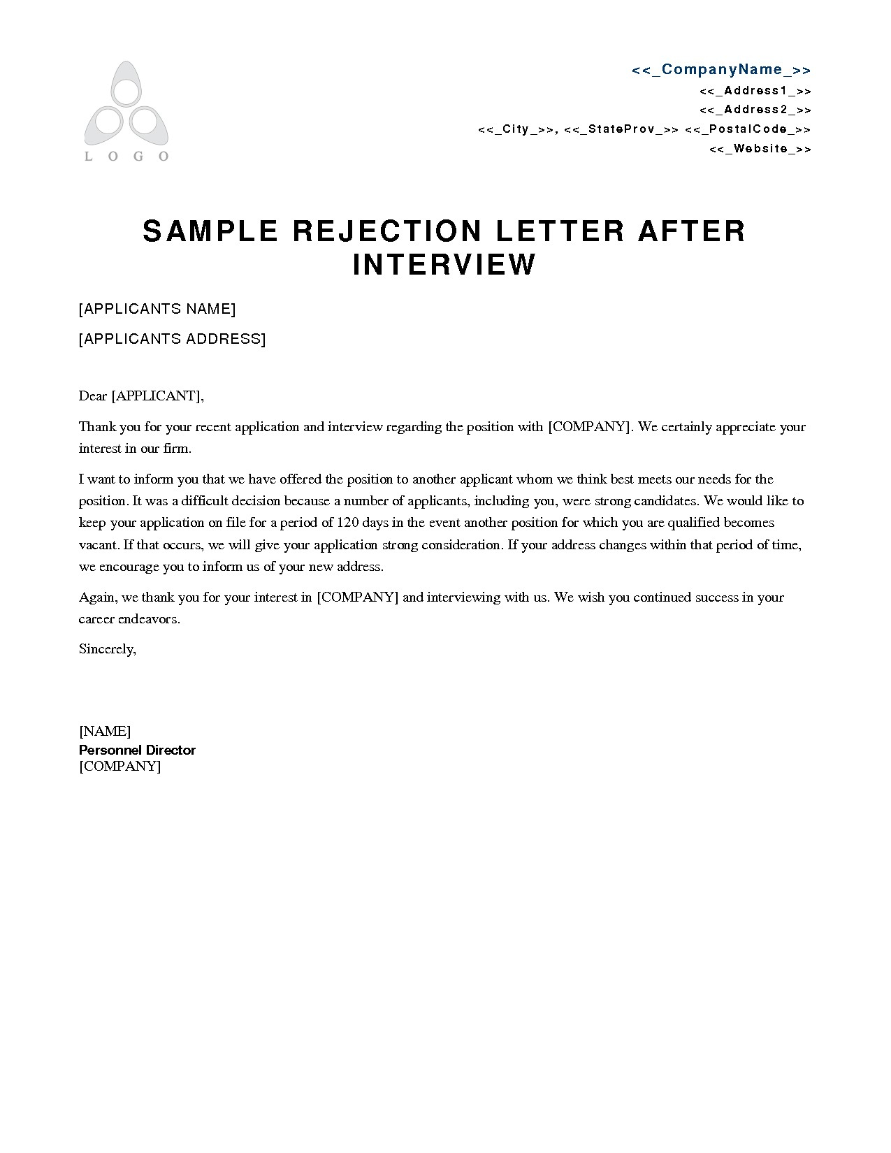 job interview rejection letter